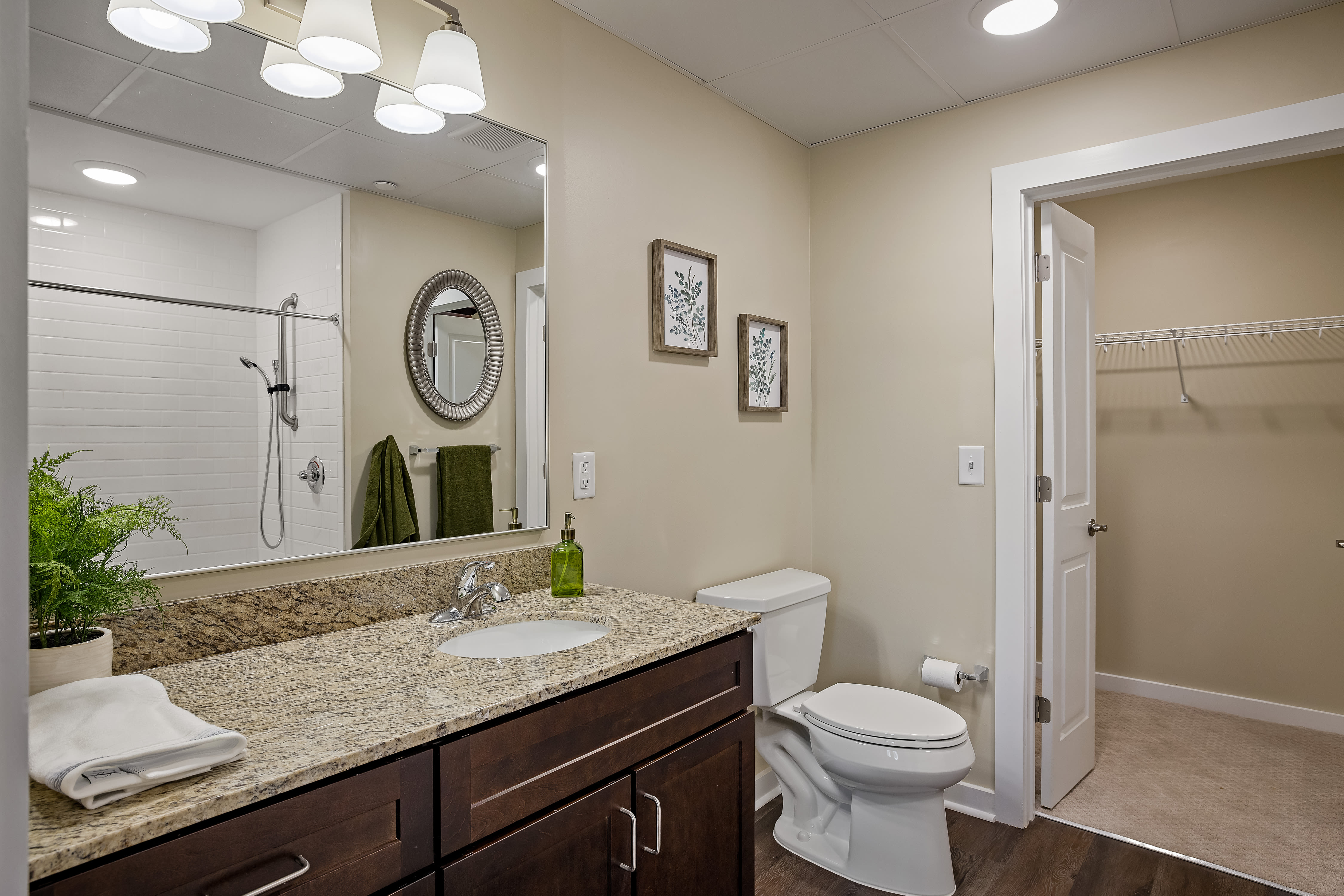 Bathroom with walk in closet  at The Claiborne at Newnan Lakes in Newnan, GA