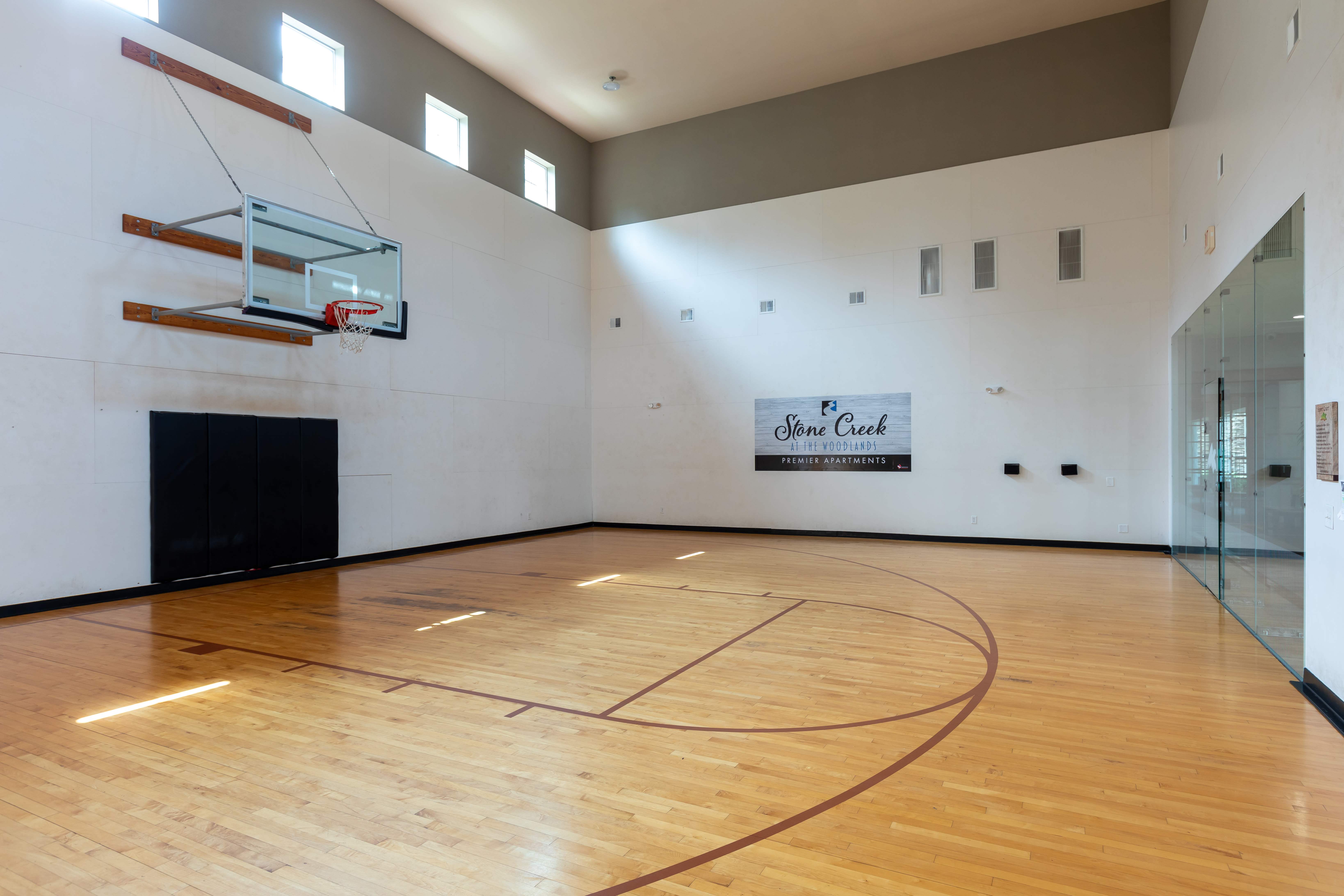 Indoor basketball court at Stone Creek at The Woodlands in The Woodlands, Texas