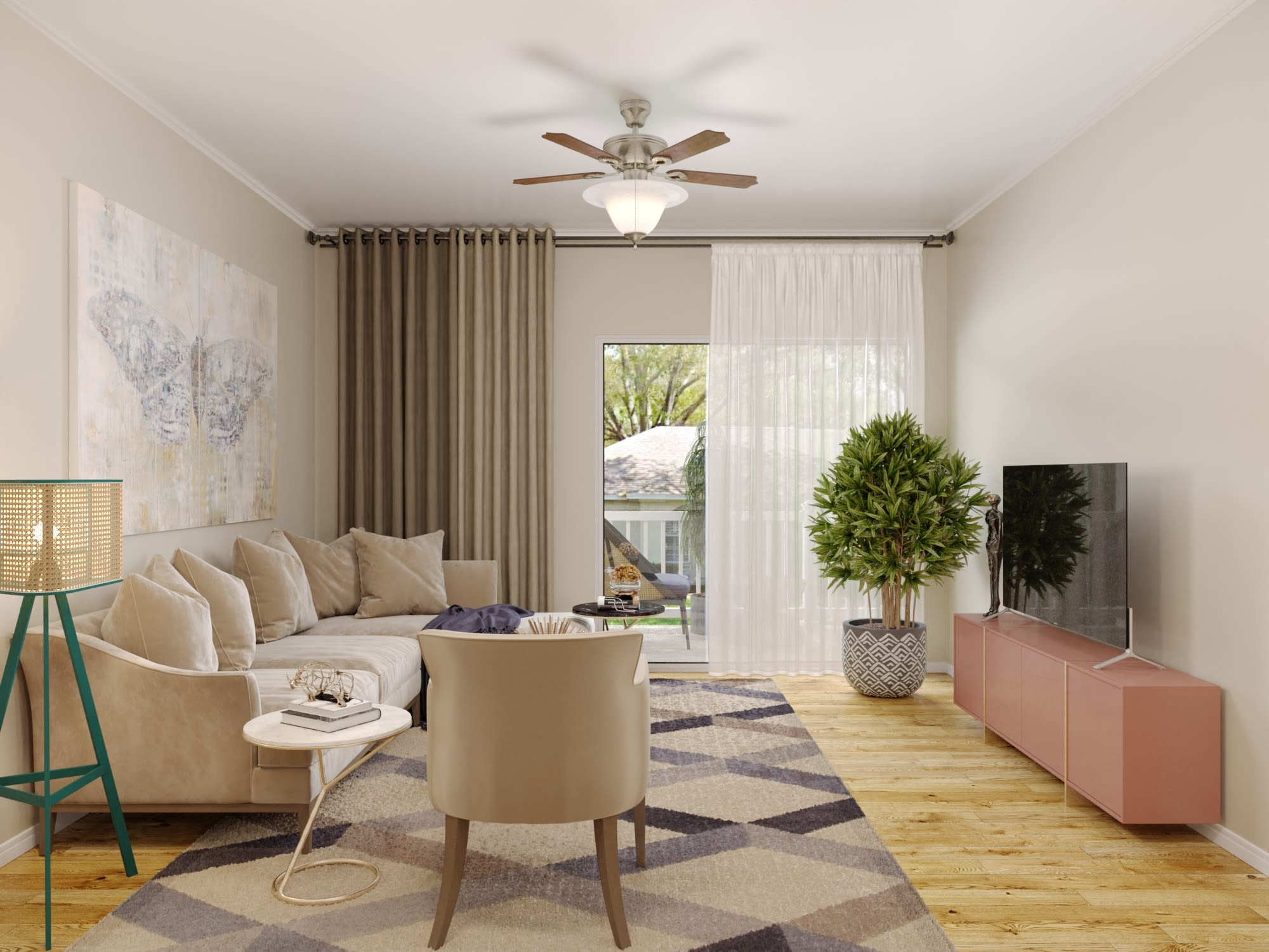 A furnished living room at Arbor Village in Summerville, South Carolina