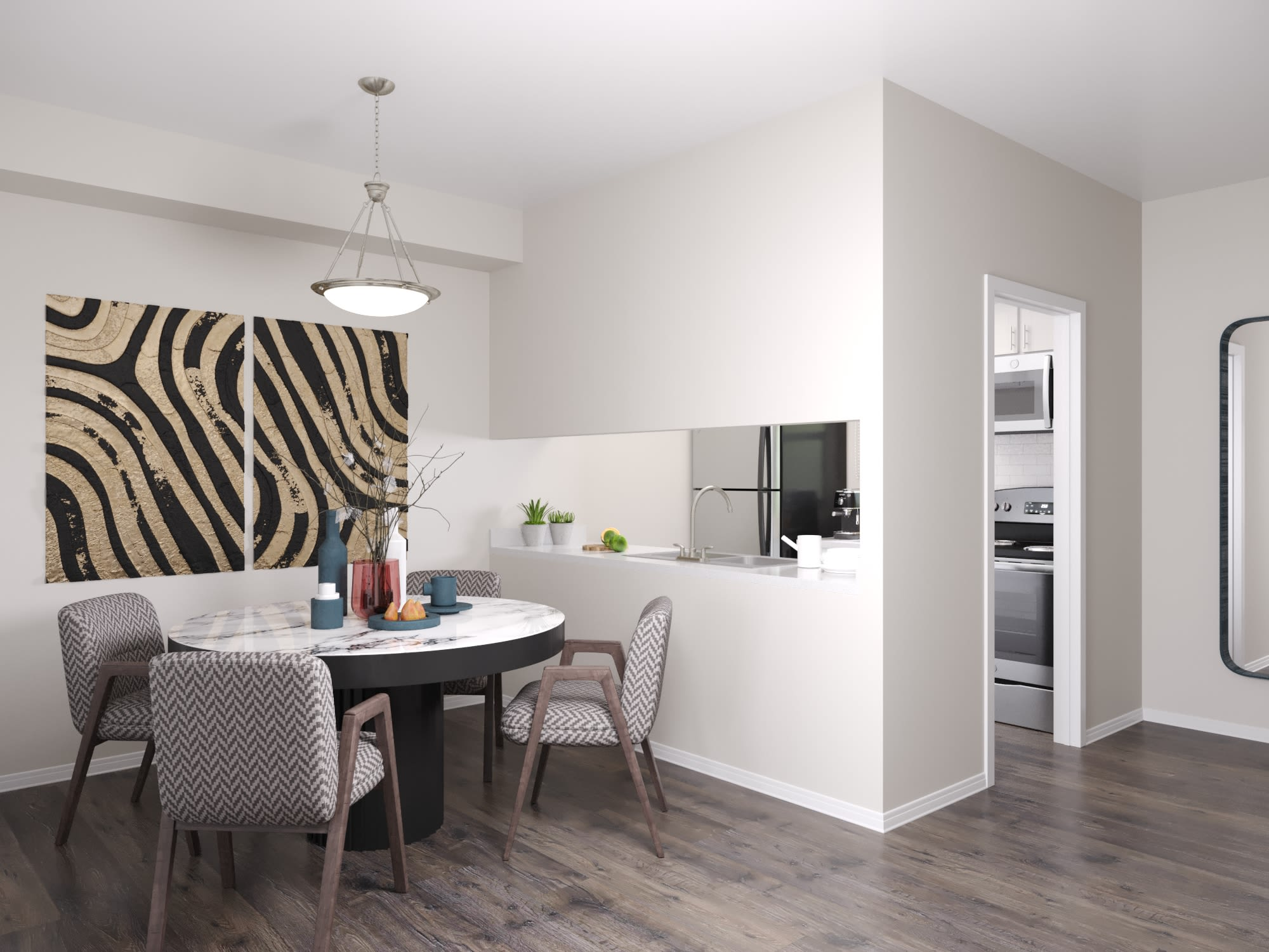 A furnished dining area at WestEnd At 76Ten in Tampa, Florida