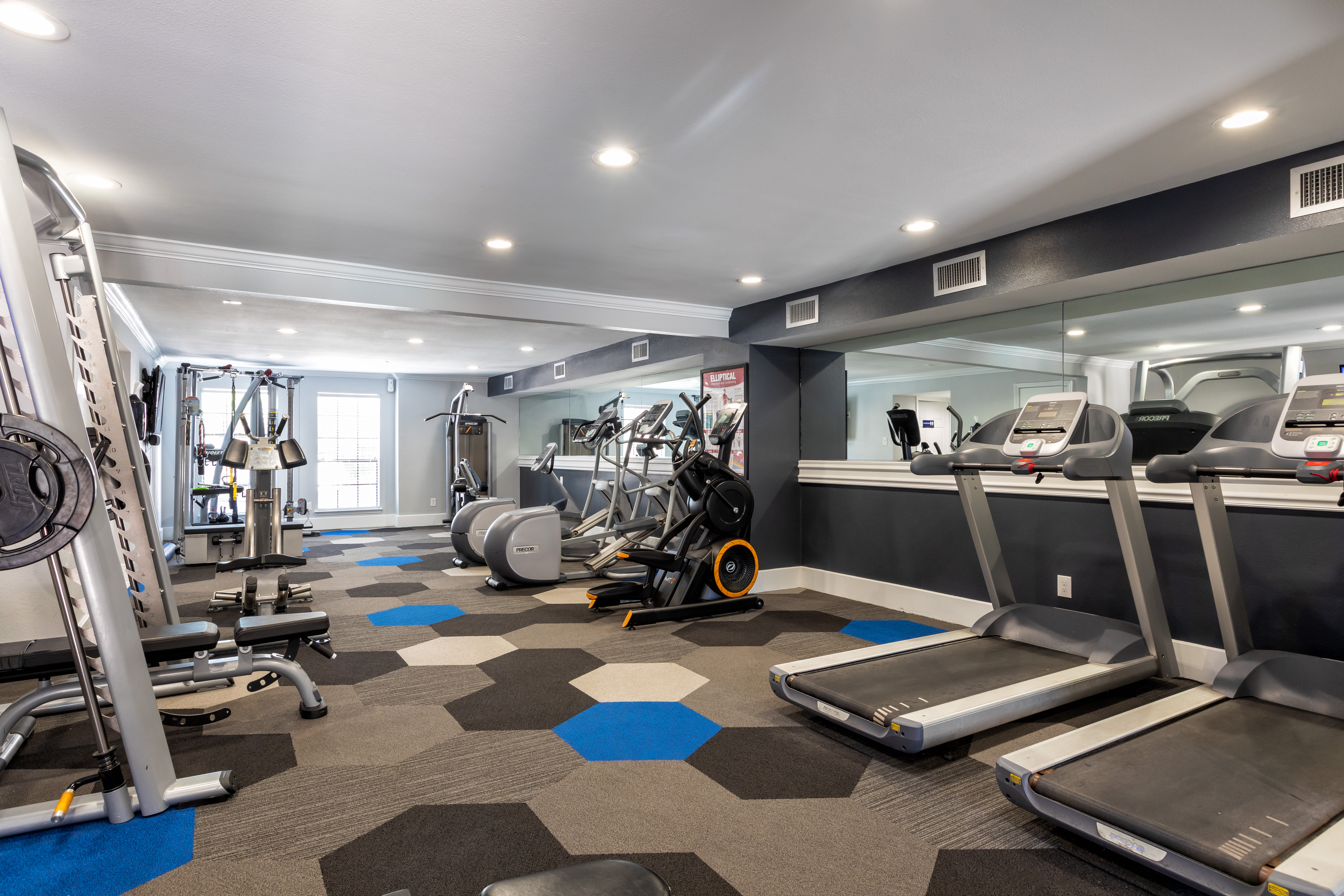 A modern fitness center at McAlister in Webster, Texas