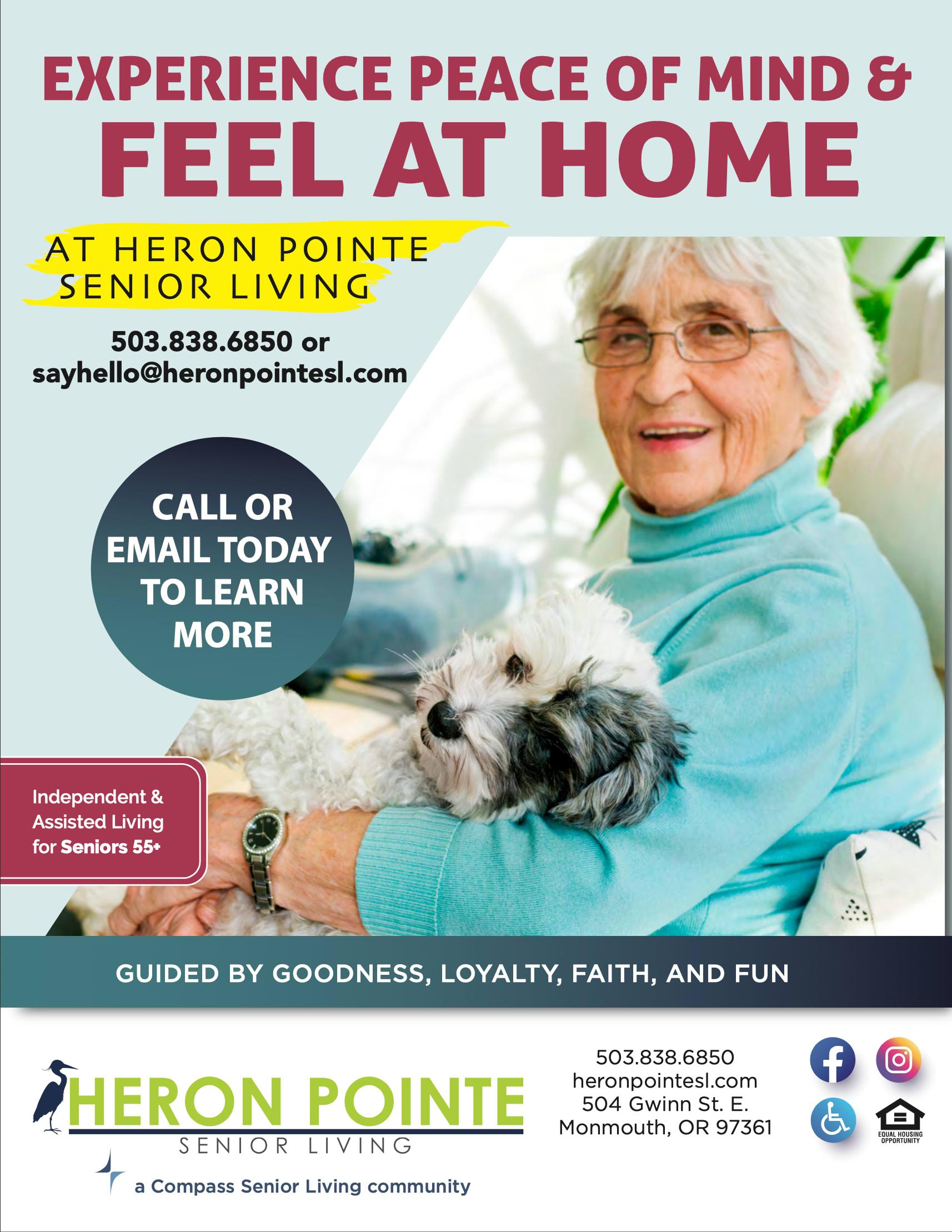 Flyer for Heron Pointe Senior Living