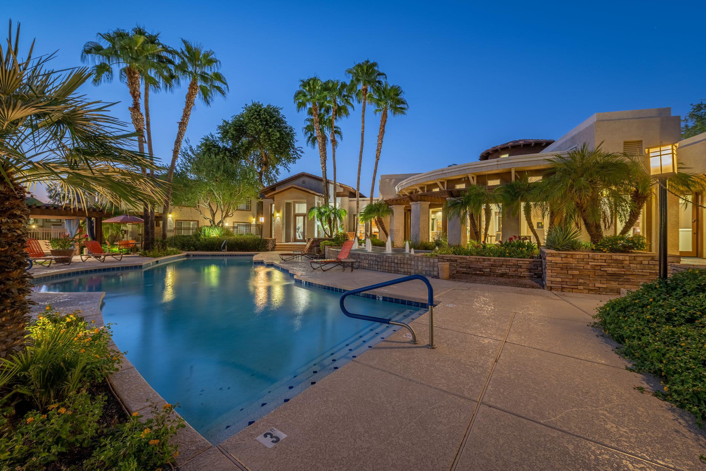 Resort style pool at dusk Azure Creek in Cave Creek, Arizona