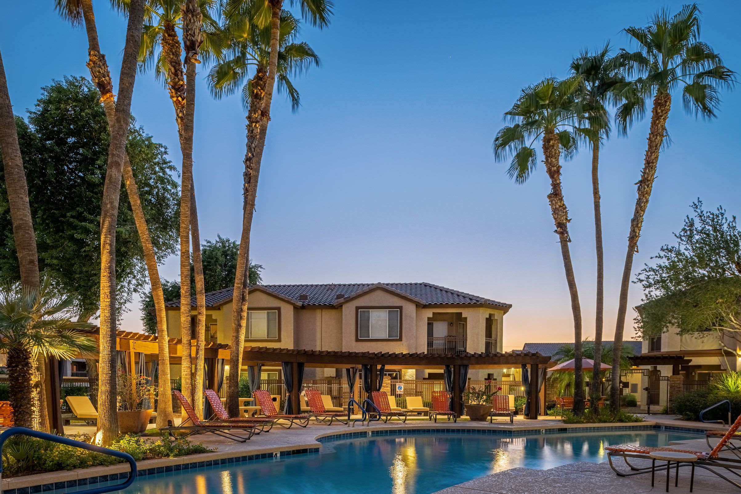 Resort style pool with apartments behind at Azure Creek in Cave Creek, Arizona