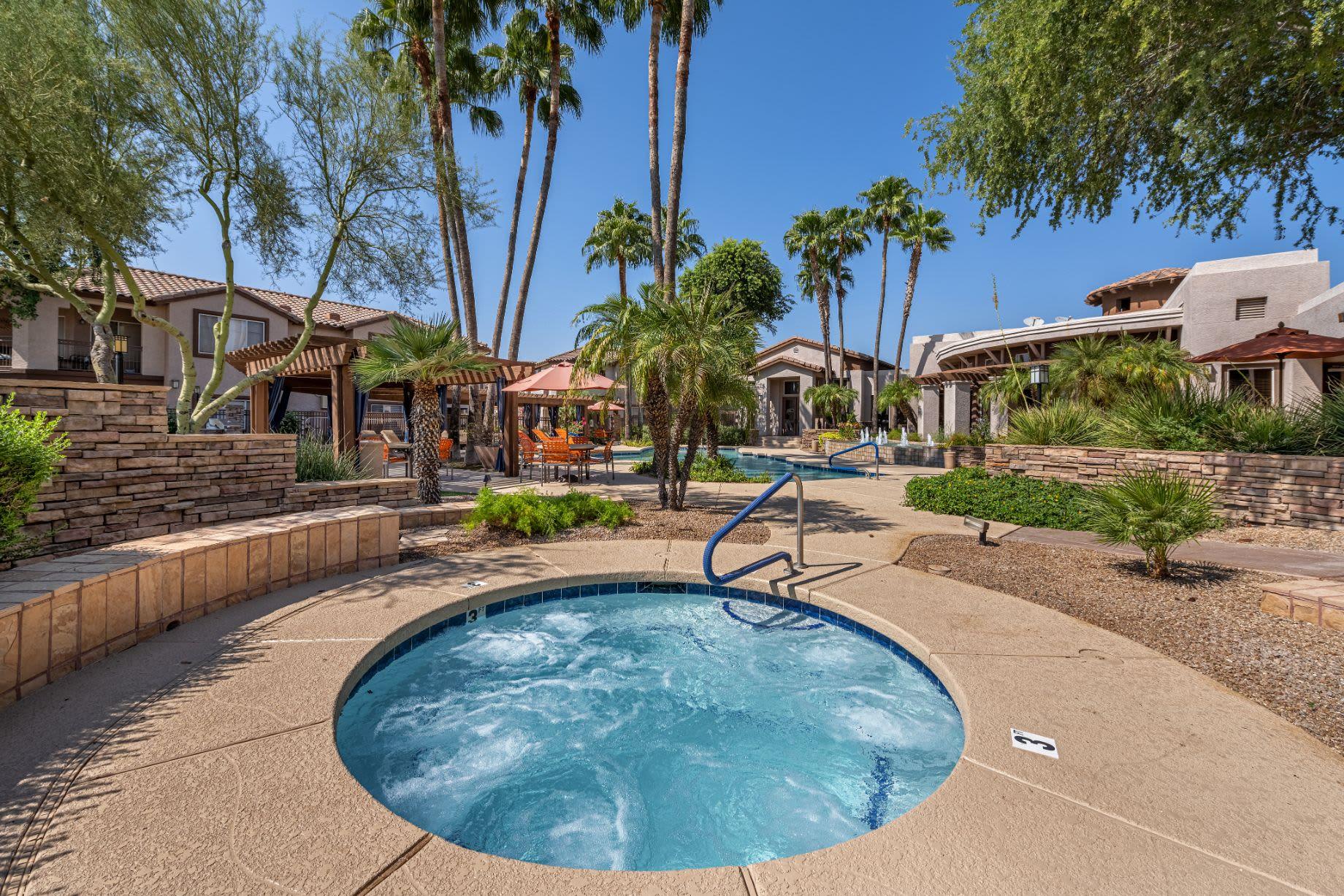 Outdoor spa near resort style pool at Azure Creek in Cave Creek, Arizona