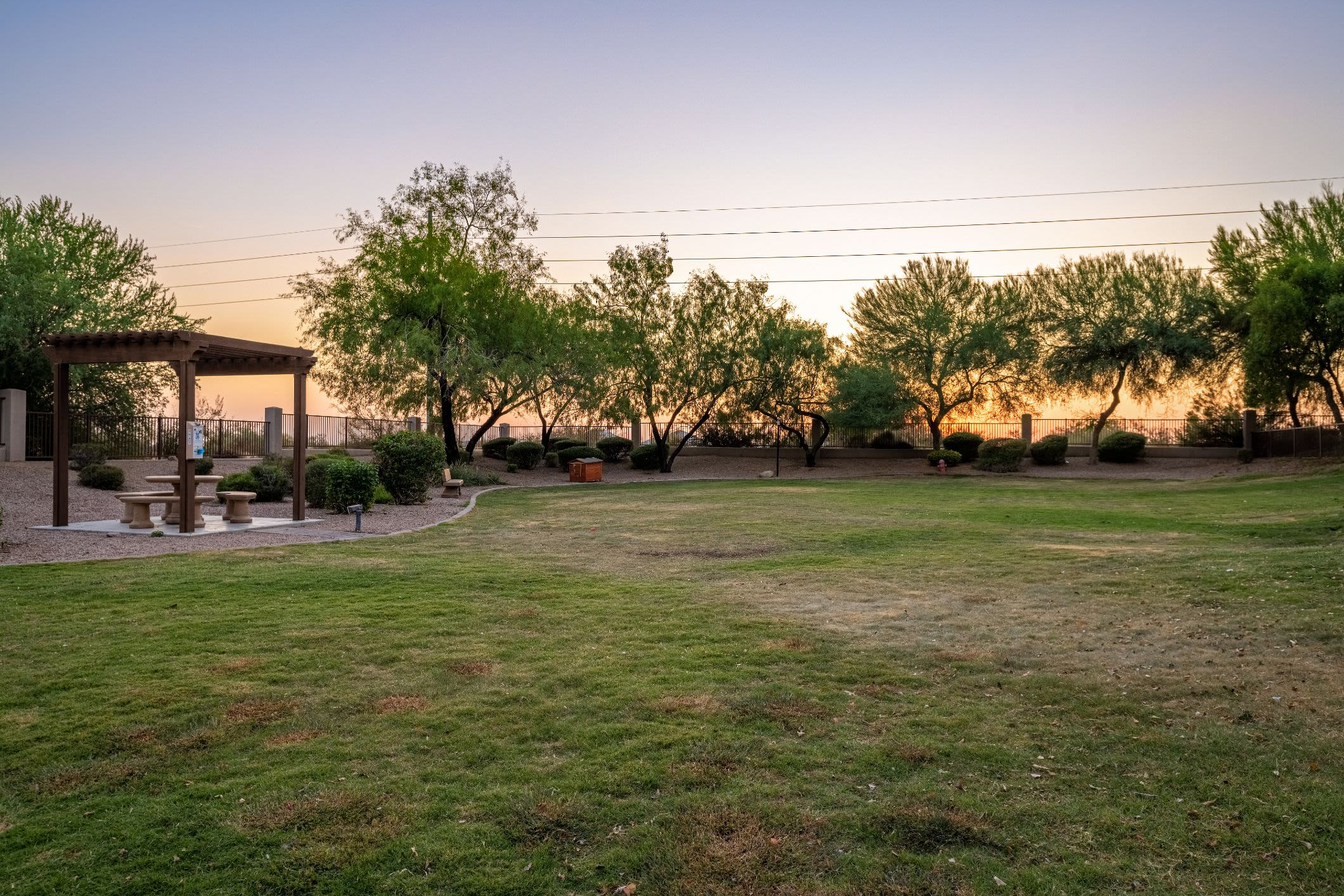 Large lawn with a gazebo at Azure Creek in Cave Creek, Arizona