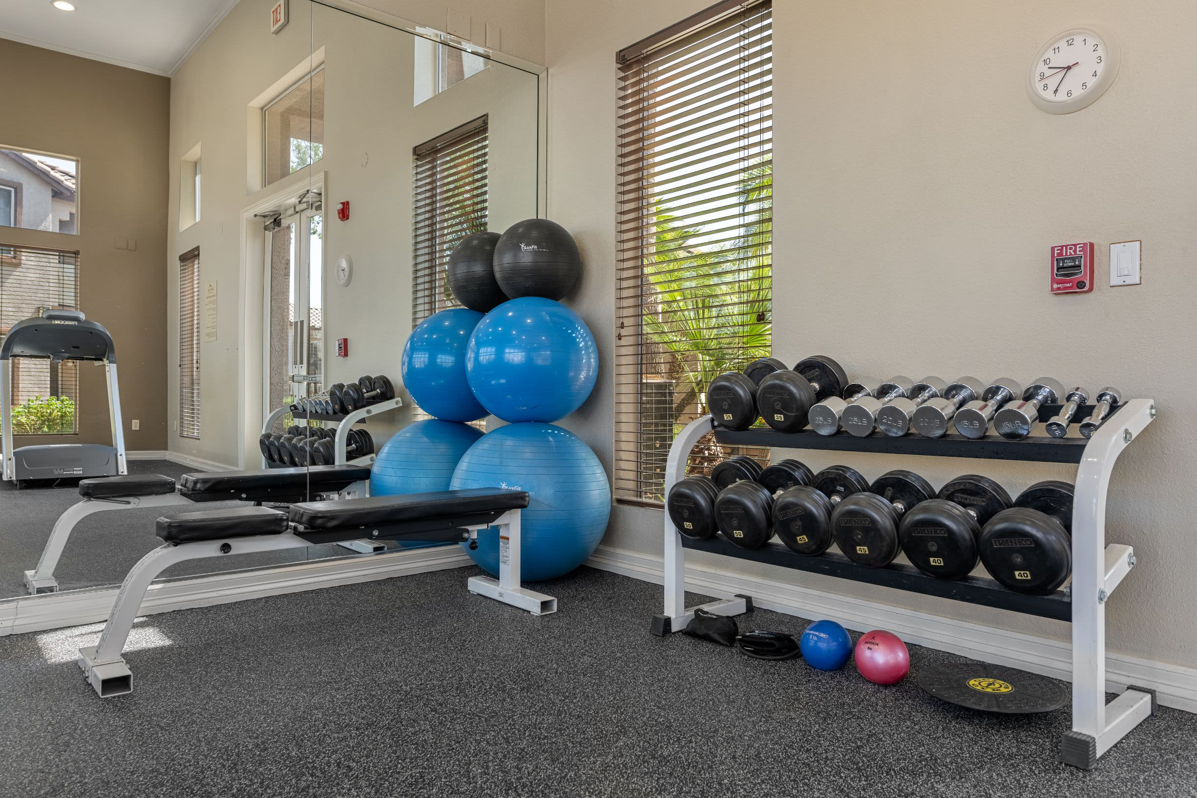 Rack of dumbbells' next to weight bench at Azure Creek in Cave Creek, Arizona
