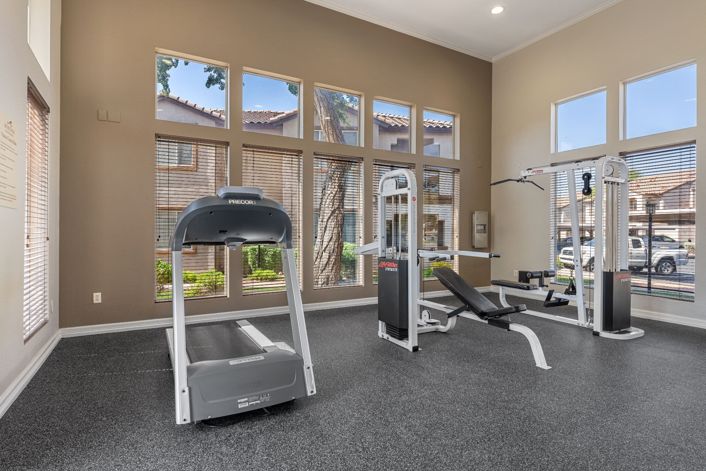 Bright fitness center with huge windows at Azure Creek in Cave Creek, Arizona