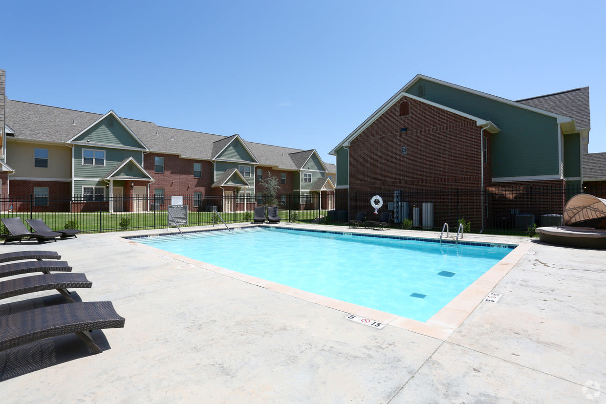 Outdoor saltwater swimming pool at Cross Timber in Oklahoma City, Oklahoma