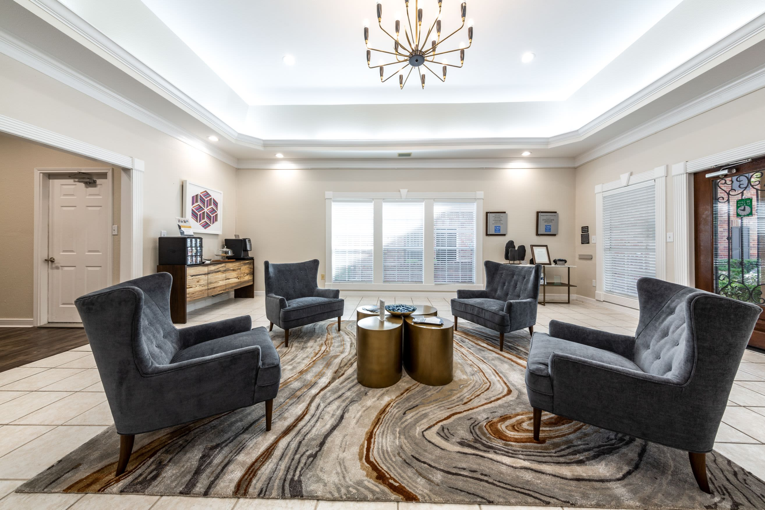 Lobby area with plush chairs at Marquis on Memorial in Houston, Texas