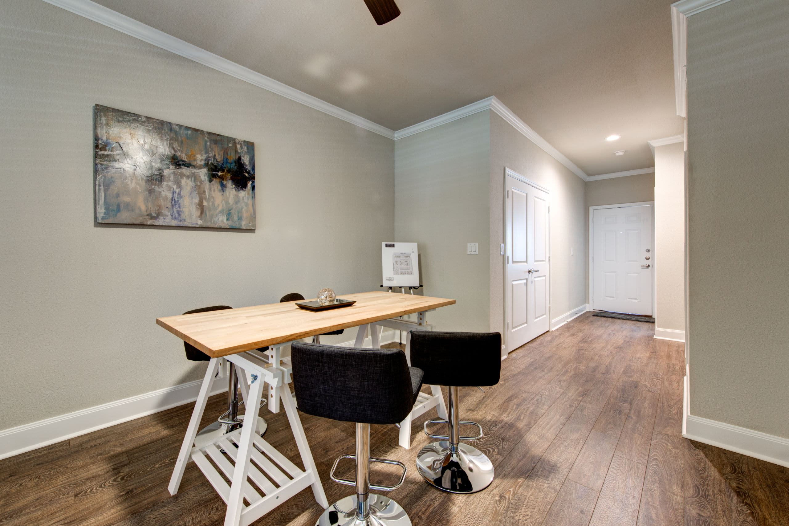 Dining area with wood style floors Marquis on Memorial in Houston, Texas