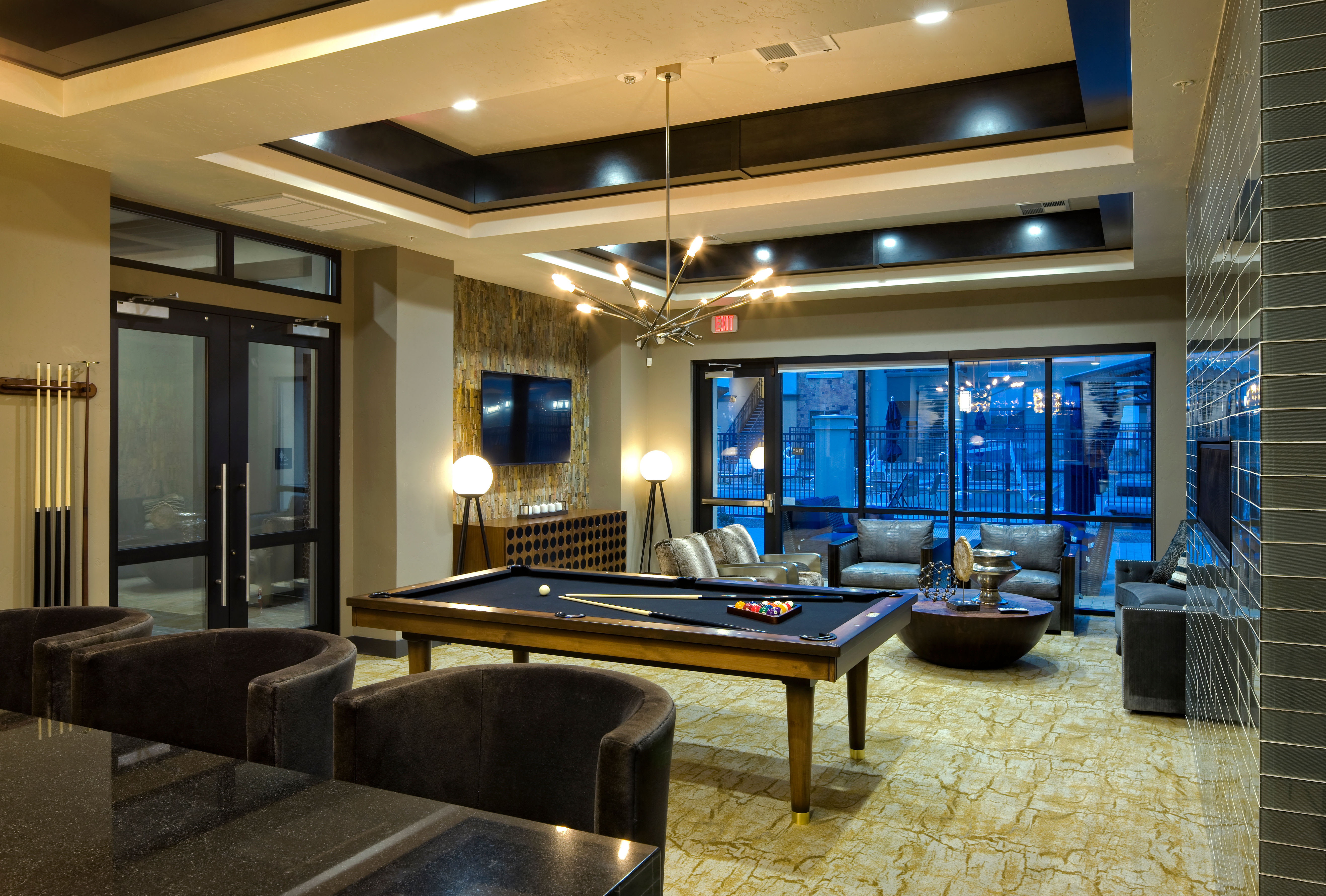 Modern architecture and decor in the resident clubhouse at Olympus Alameda in Albuquerque, New Mexico
