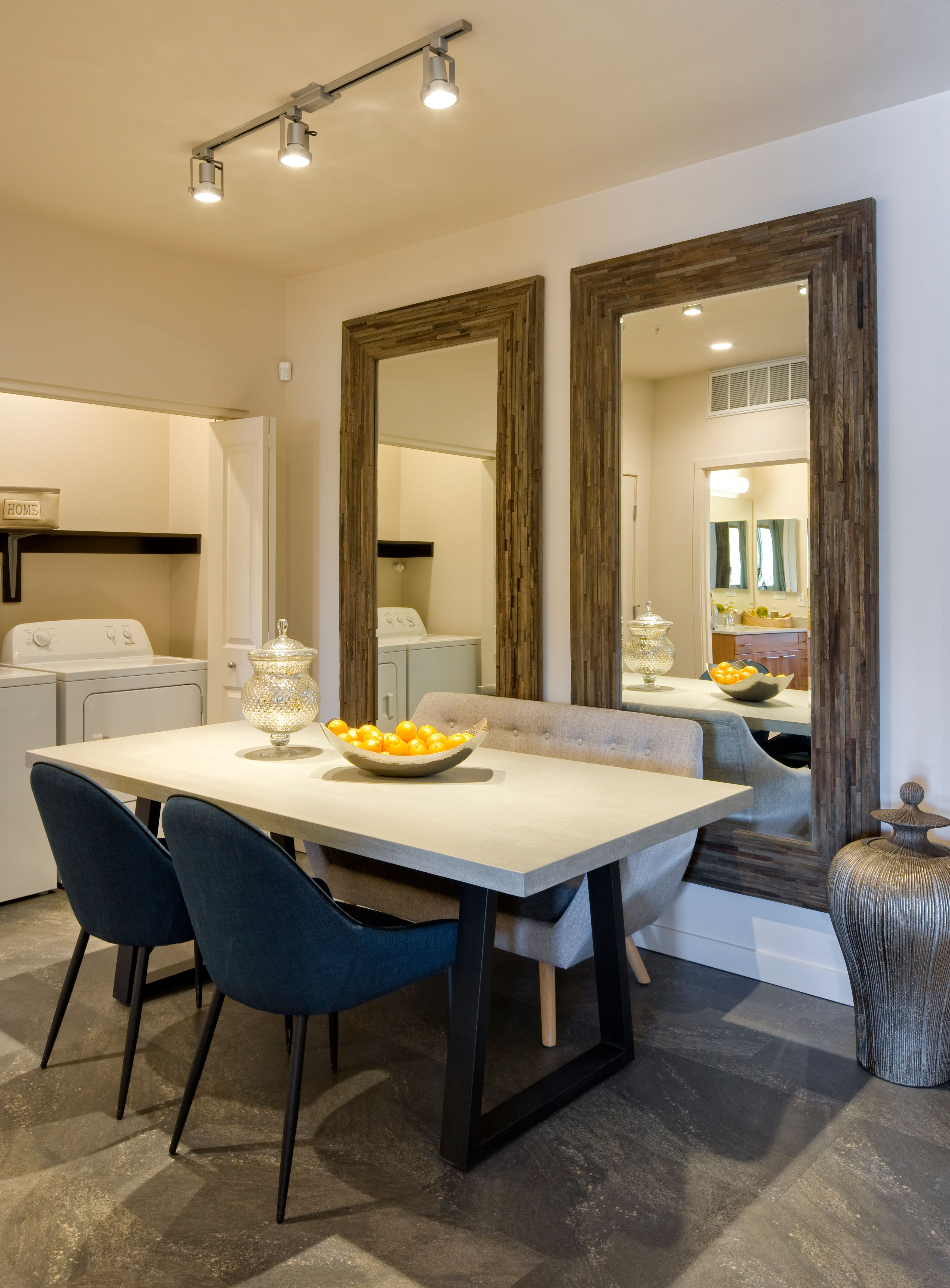 Modern decor in a model home's living area at Olympus Alameda in Albuquerque, New Mexico