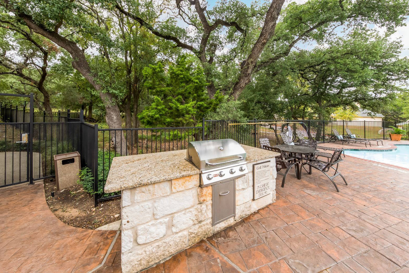 Grill next to pool Marquis at TPC in San Antonio, Texas