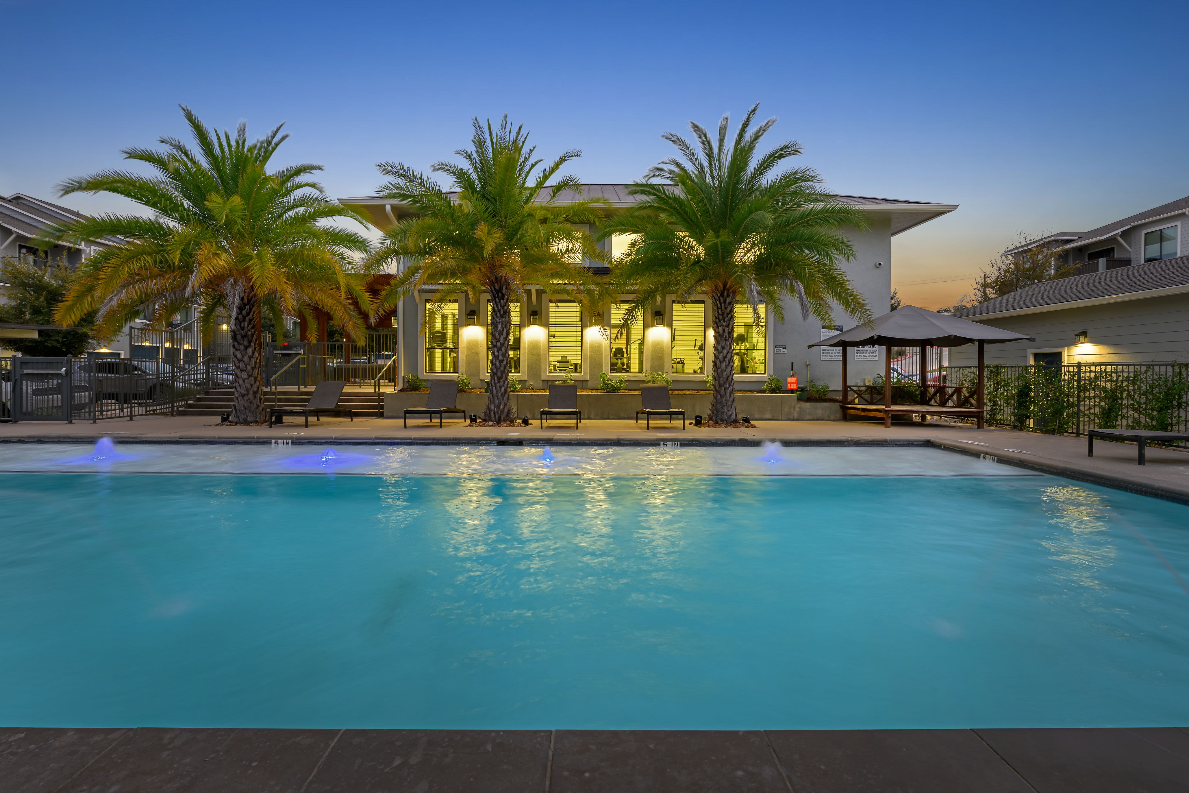 Swimming pool with palm trees at dusk at Marquis SoCo in Austin, Texas