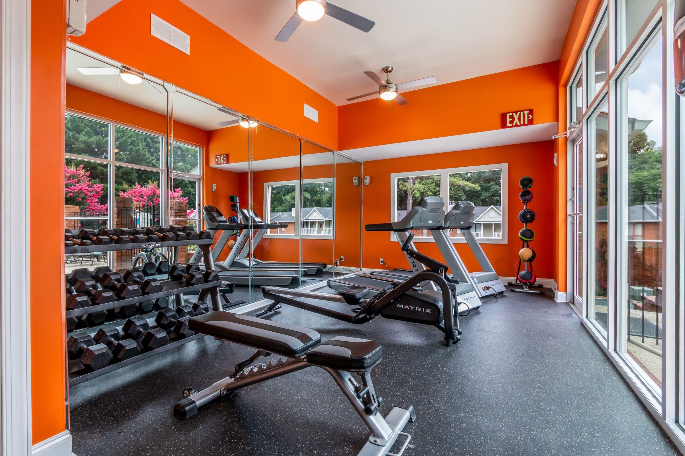 Free weights and cardio machines at Marquis at Perimeter Center in Atlanta, Georgia