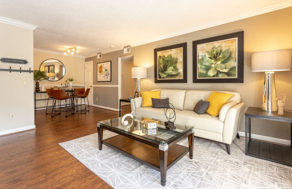 Spacious living room at The Abbey at Riverchase in Hoover