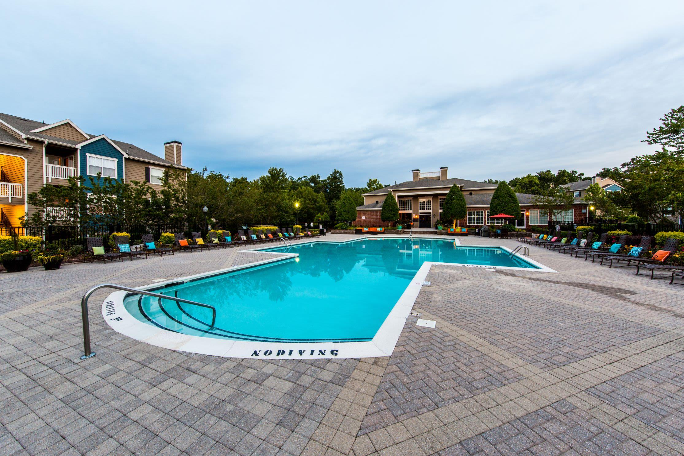 Sparkling swimming pool at Marquis at Silverton in Cary, North Carolina