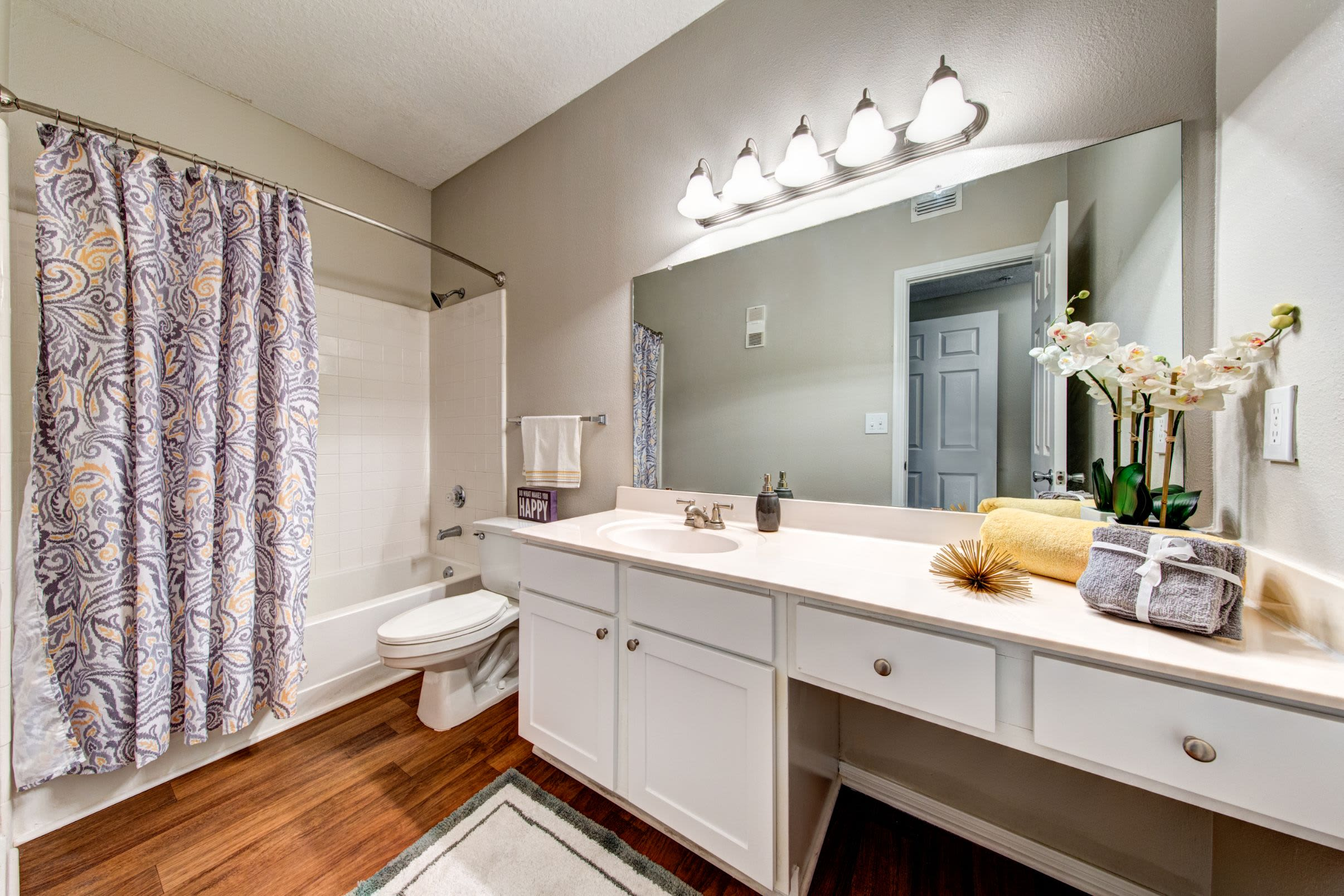 Clean bathroom with a large counter at Marquis at Silverton in Cary, North Carolina