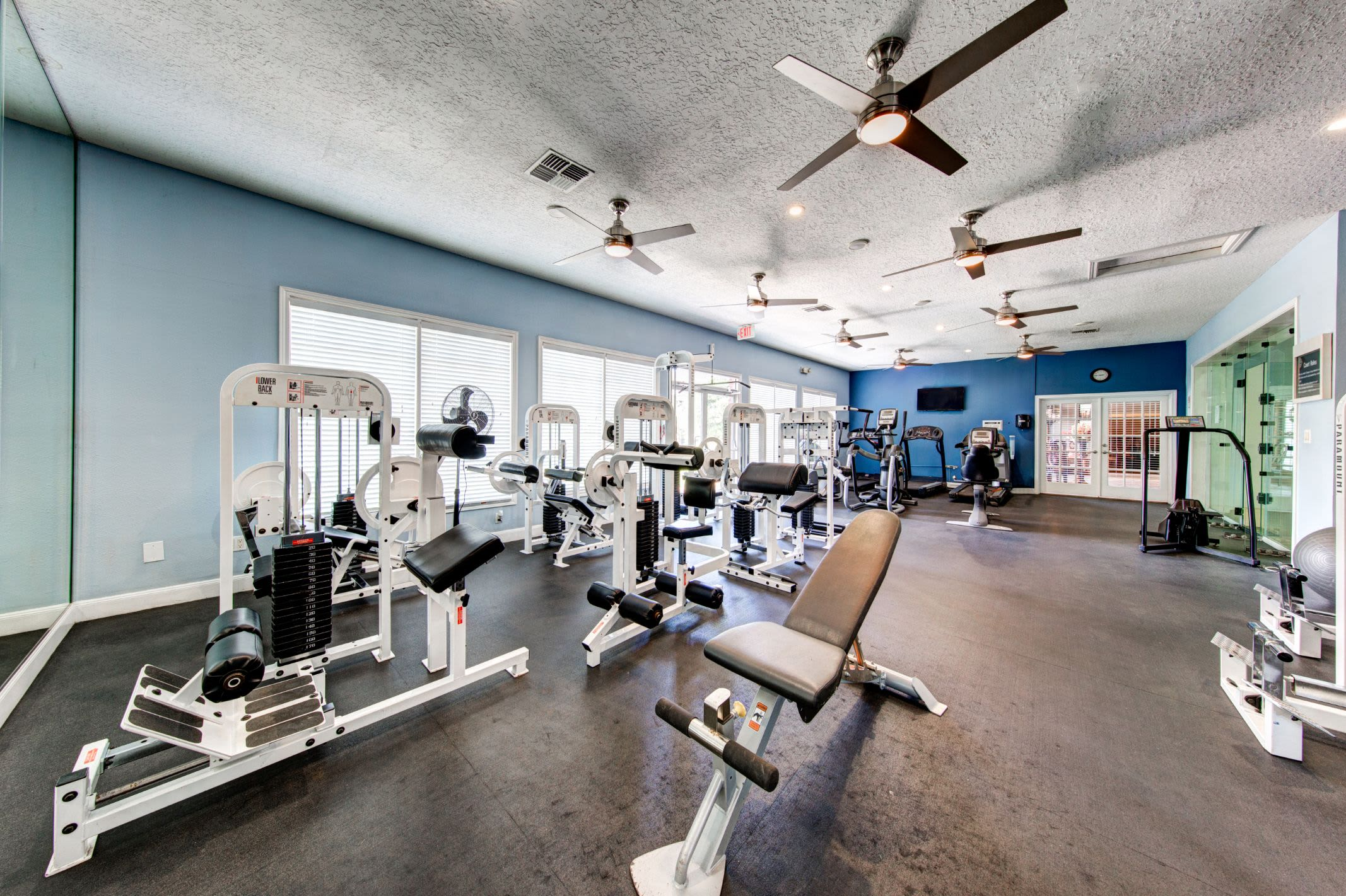 Large fitness center at Marquis at Silverton in Cary, North Carolina