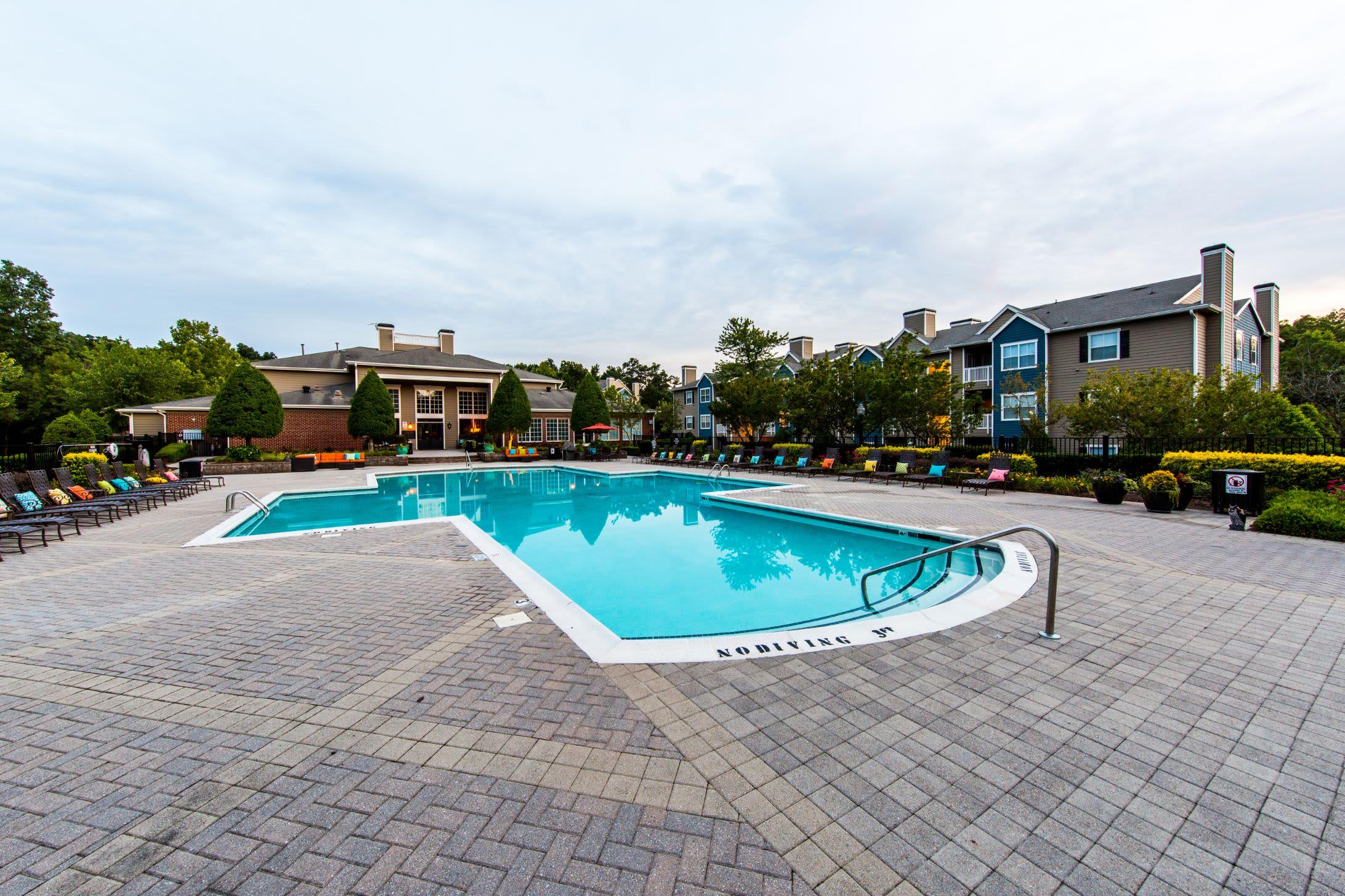 Large outdoor swimming pool at Marquis at Silverton in Cary, North Carolina