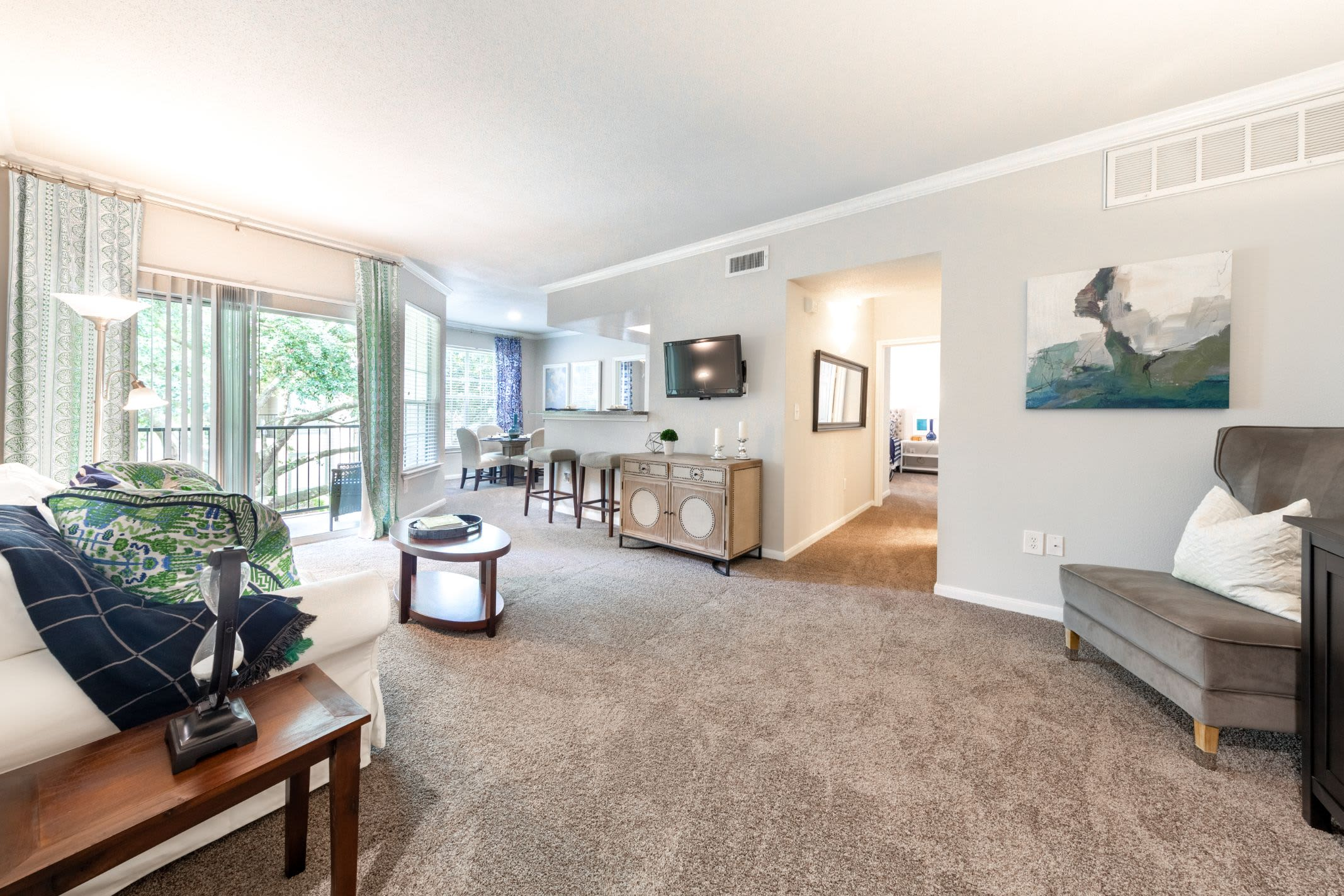 Living area with ample natural light at Marquis at Westchase in Houston, Texas