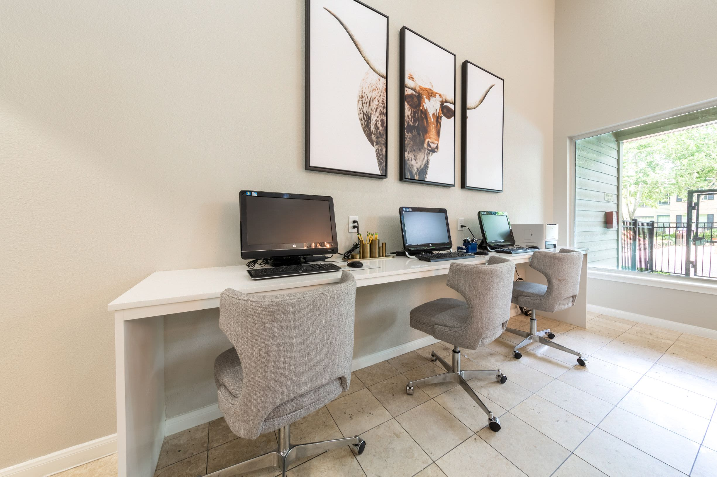 Business center at Marquis at Westchase in Houston, Texas
