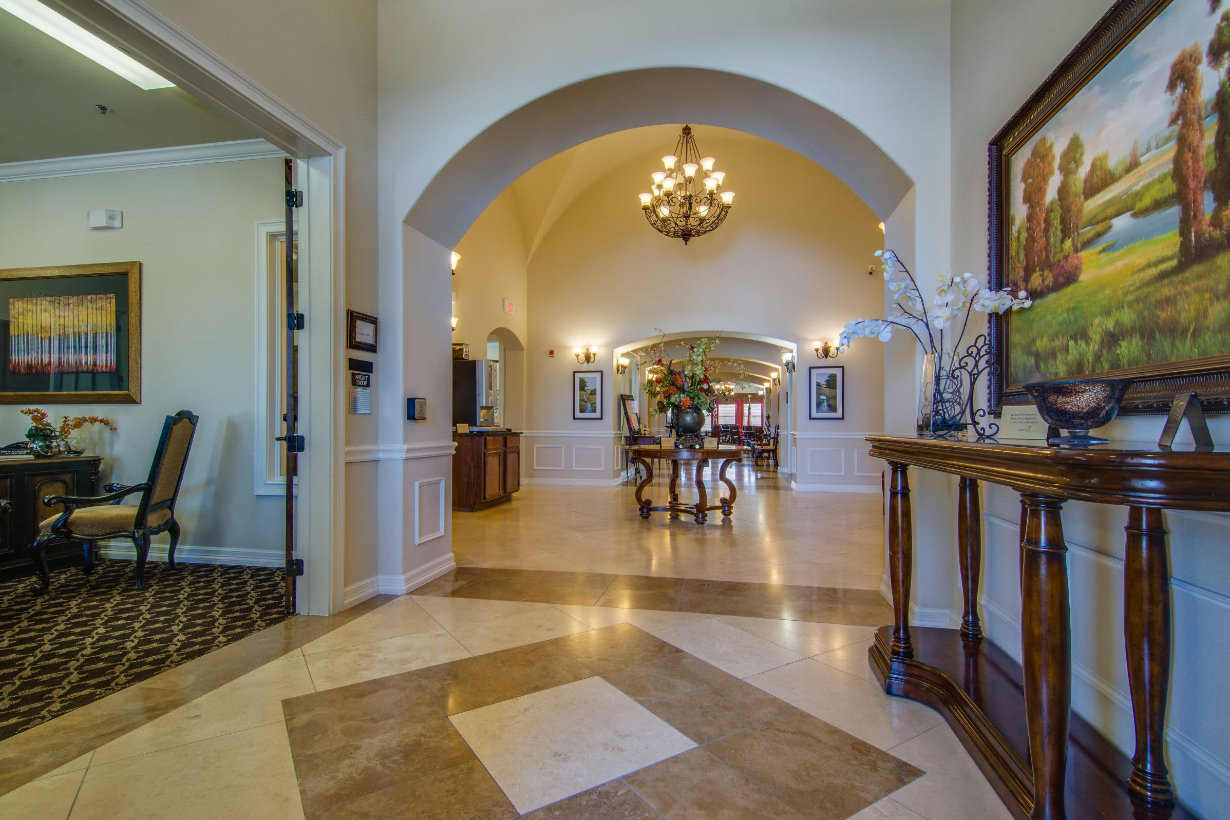 Foyer adjacent to dining hall at Marquis Rockwall in Rockwall, Texas