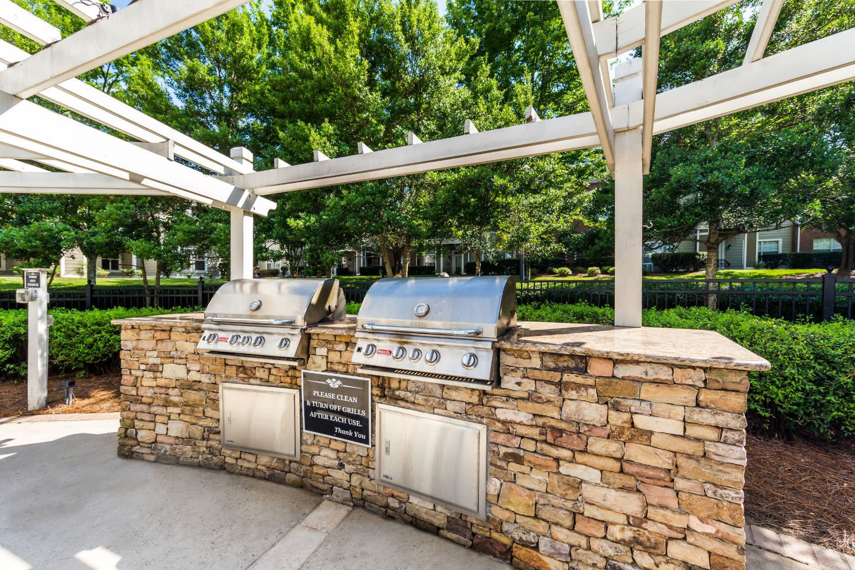 Outdoor grills for residents at The Preserve at Ballantyne Commons in Charlotte, North Carolina