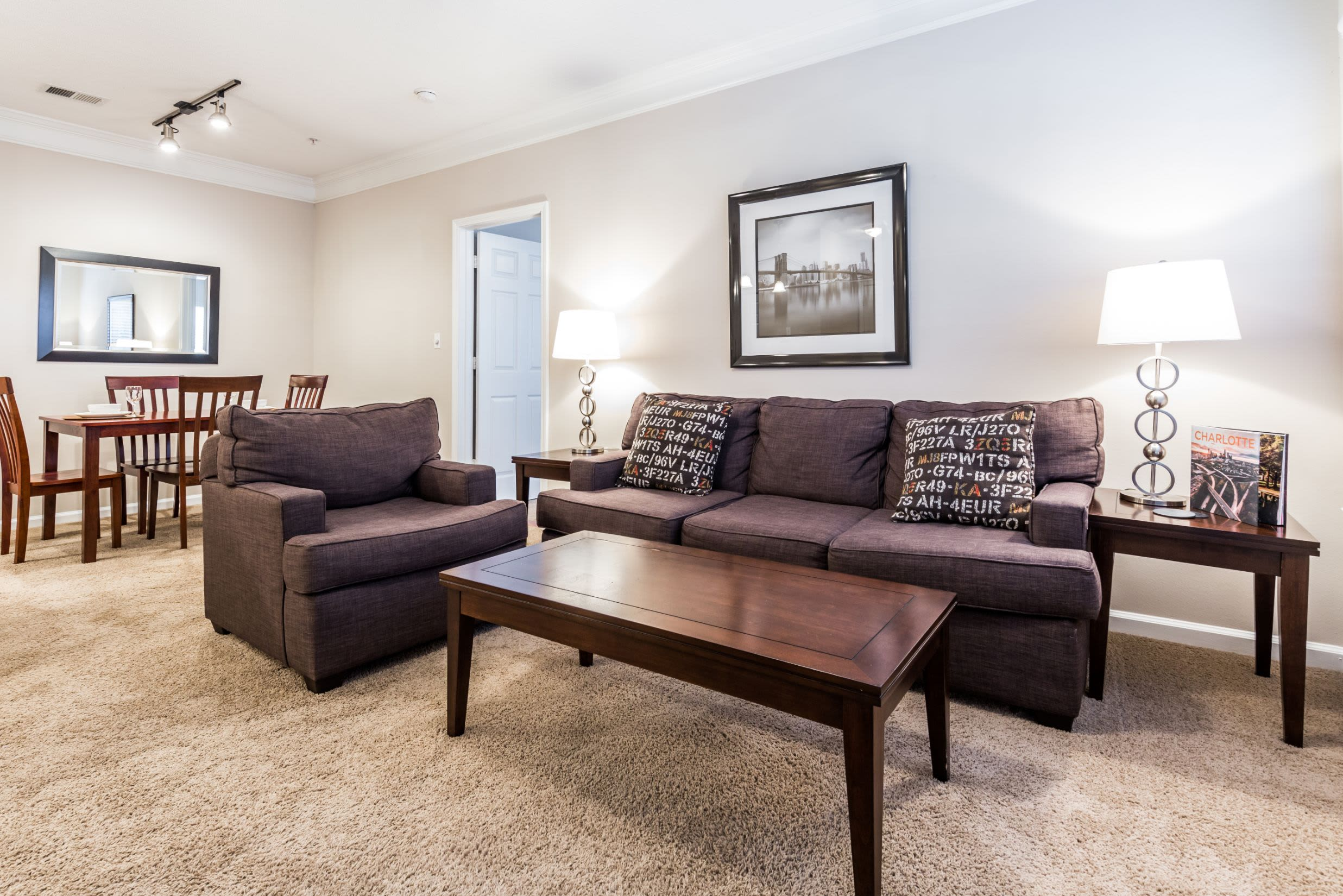 Living area with carpeted floors at The Preserve at Ballantyne Commons in Charlotte, North Carolina