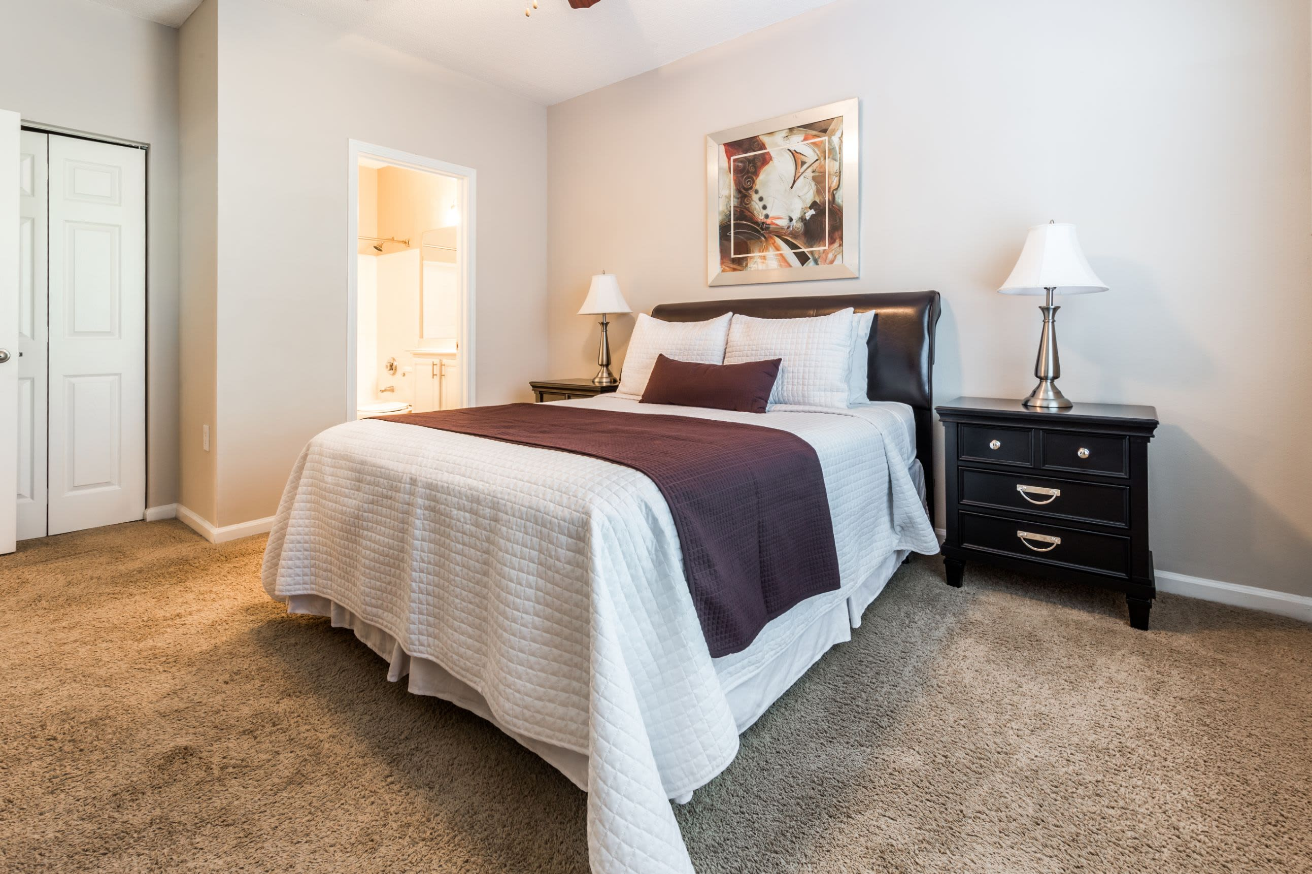 Bedroom with carpet flooring at The Preserve at Ballantyne Commons in Charlotte, North Carolina