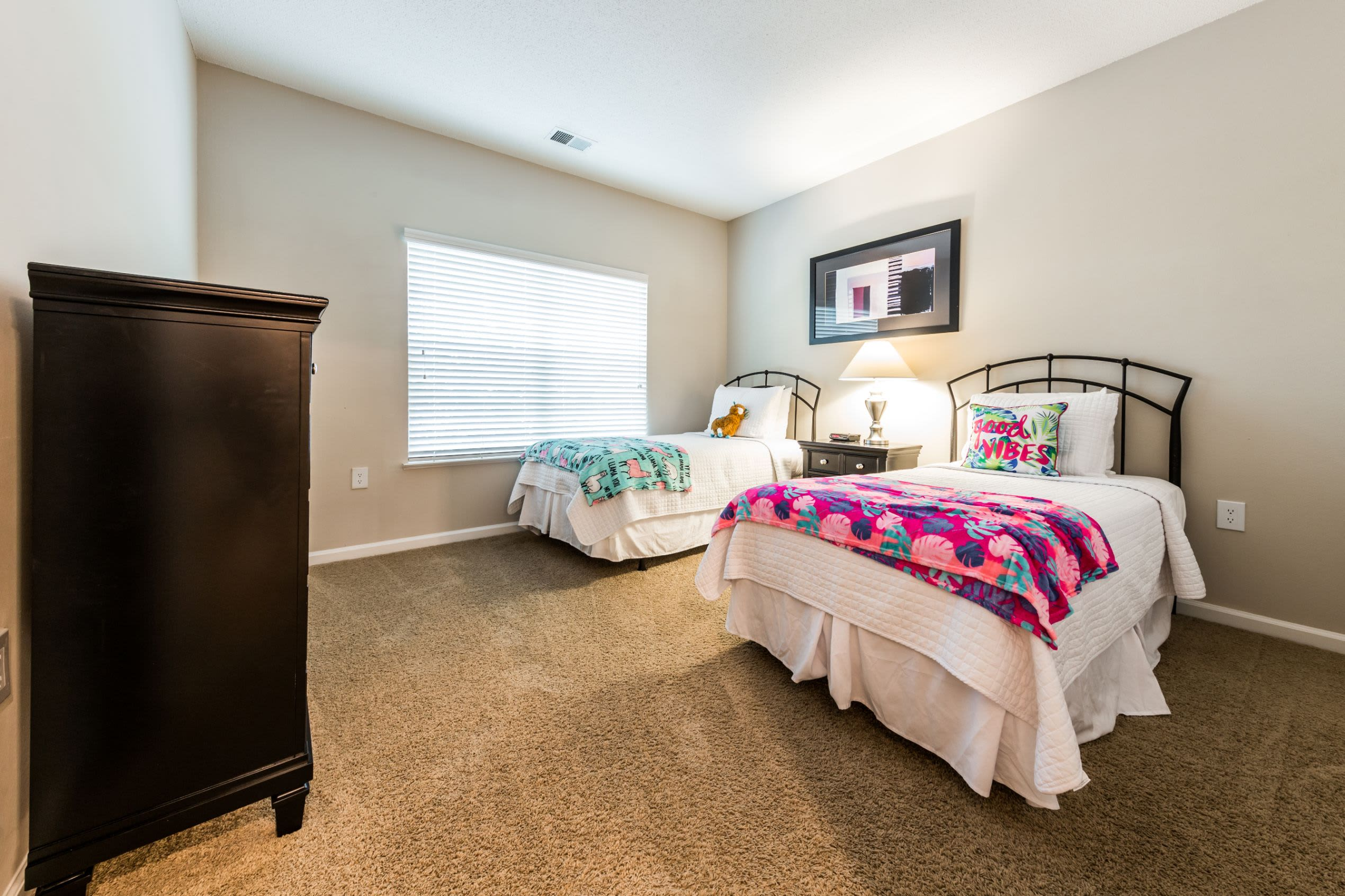 Bedroom with two beds in it at The Preserve at Ballantyne Commons in Charlotte, North Carolina