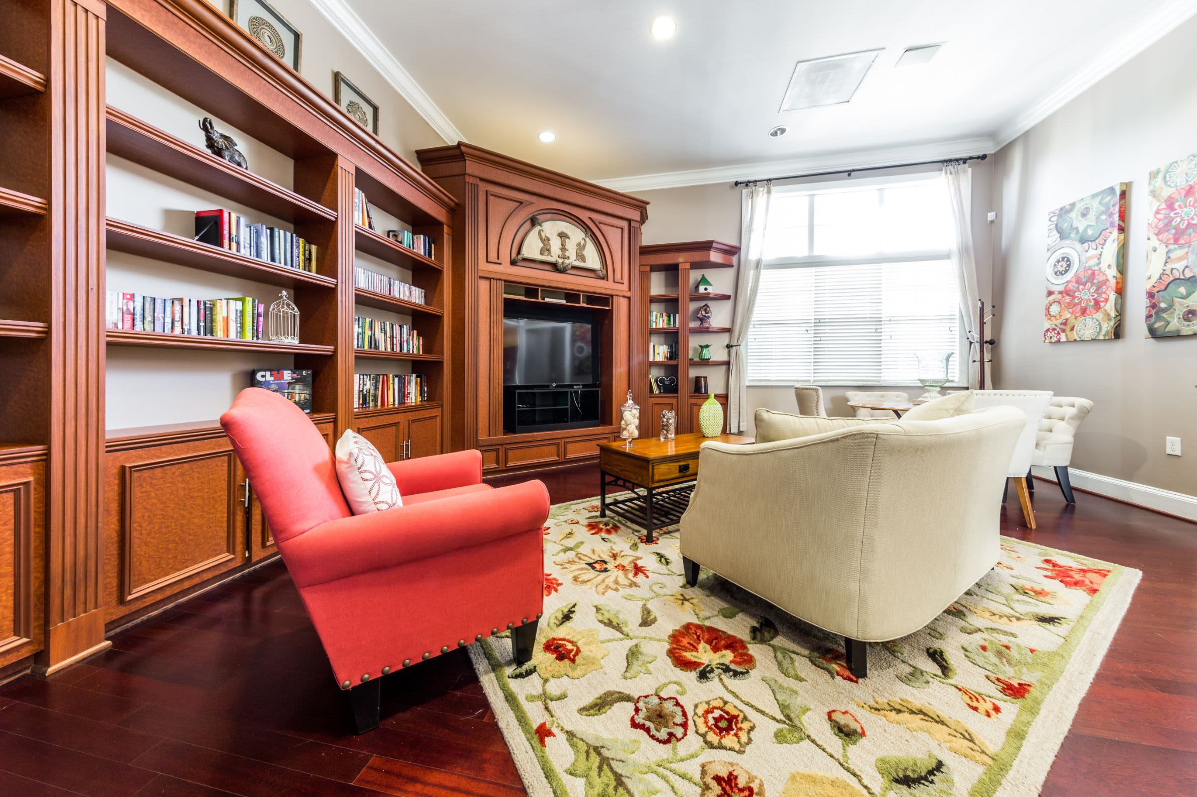 Lounge with fireplace at The Preserve at Ballantyne Commons in Charlotte, North Carolina