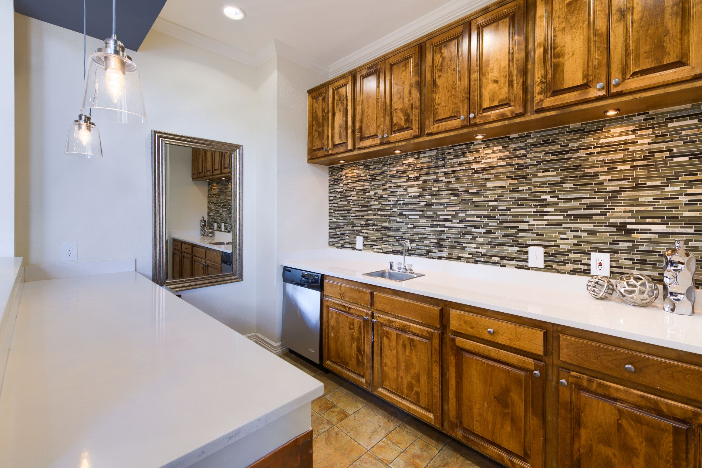 Clubhouse kitchen at Whisper Creek Apartment Homes in Lakewood, Colorado