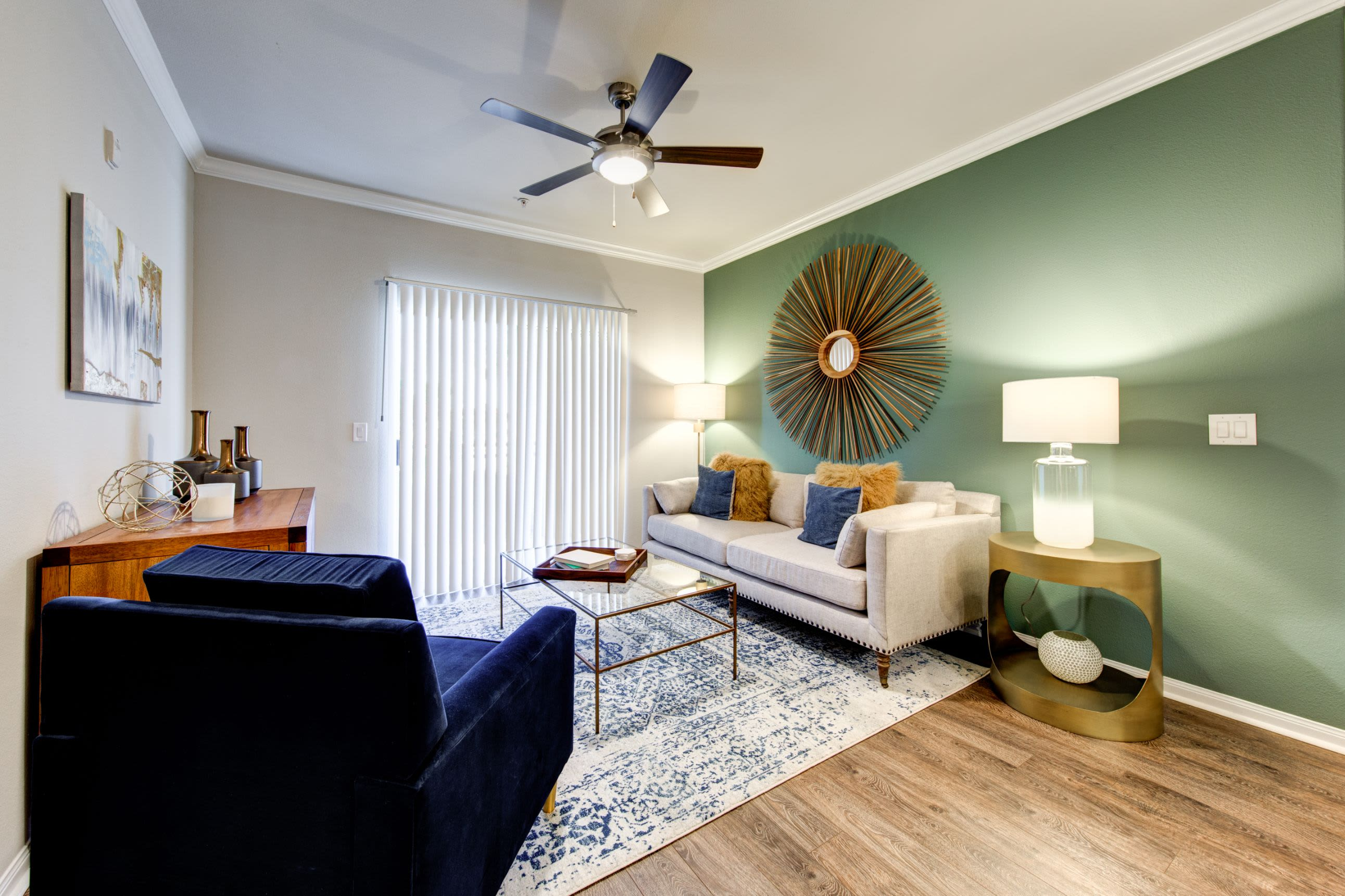Well decorated living room at Marquis at The Woodlands in Spring, Texas