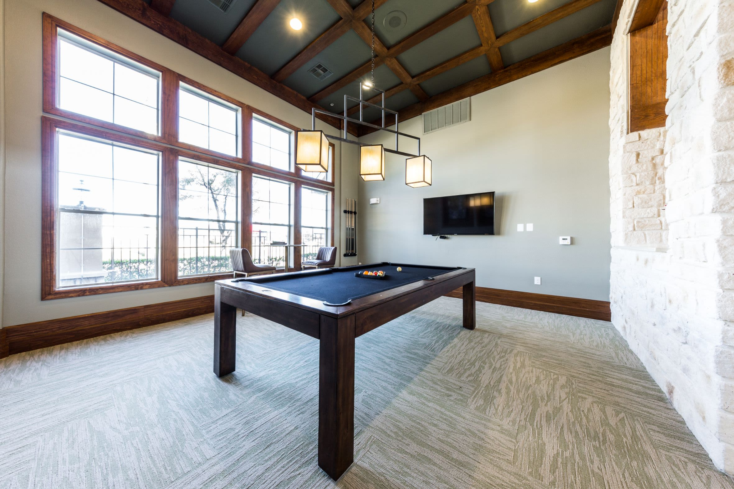 Billiards table in clubhouse at Marquis at The Woodlands in Spring, Texas