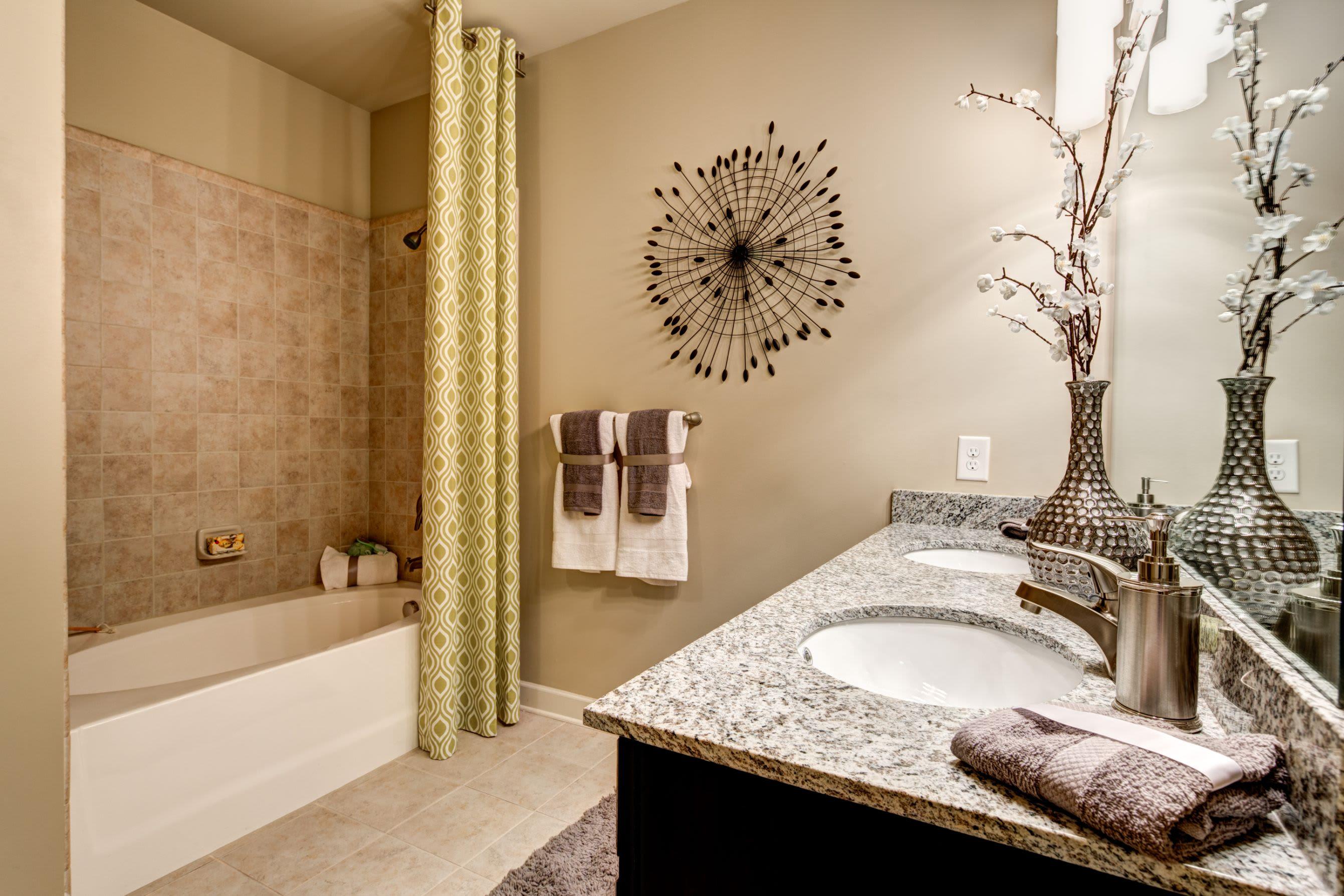 Clean bathroom at Marquis at Morrison Plantation in Mooresville, North Carolina