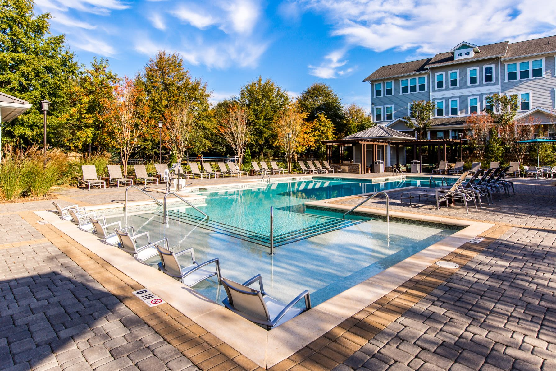 Sparkling swimming pool at Marquis at Morrison Plantation in Mooresville, North Carolina
