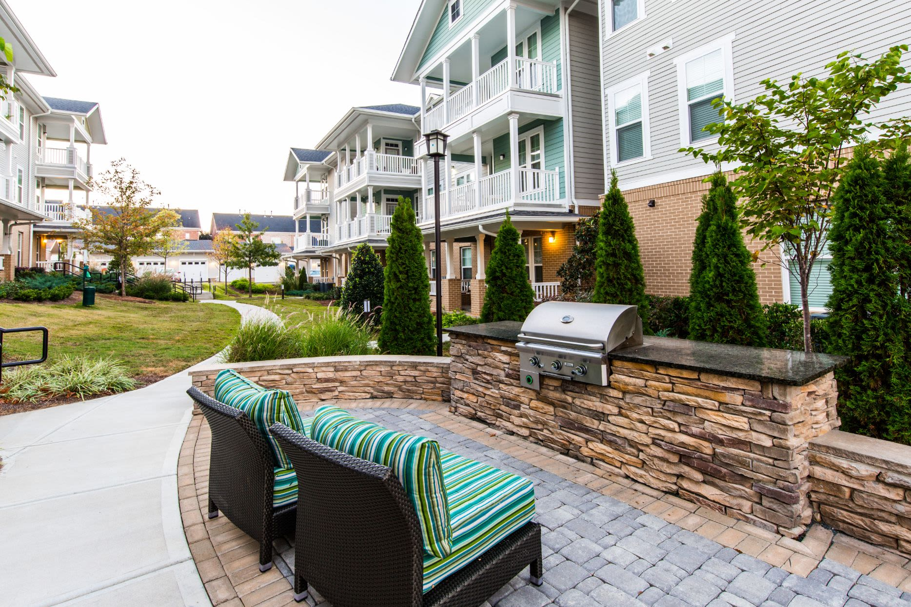 Outdoor grill for residents at Marquis at Morrison Plantation in Mooresville, North Carolina