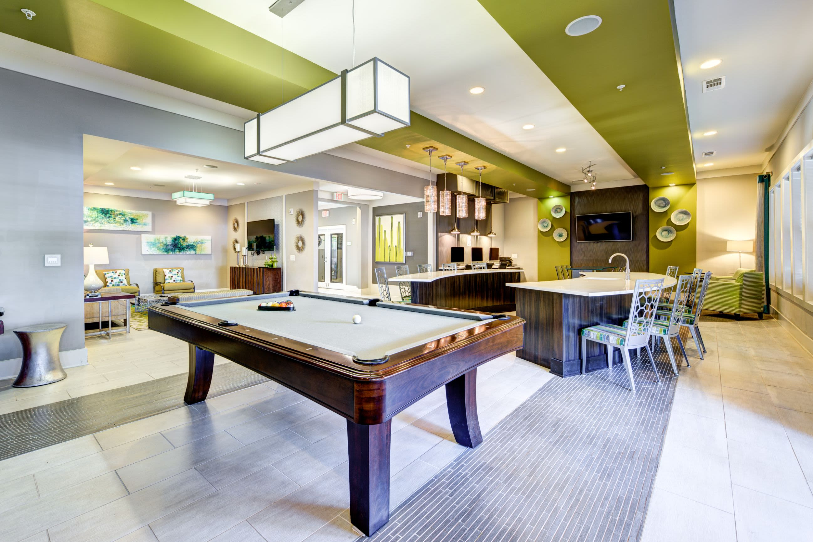 Pool table in clubhouse at Marquis at Morrison Plantation in Mooresville, North Carolina