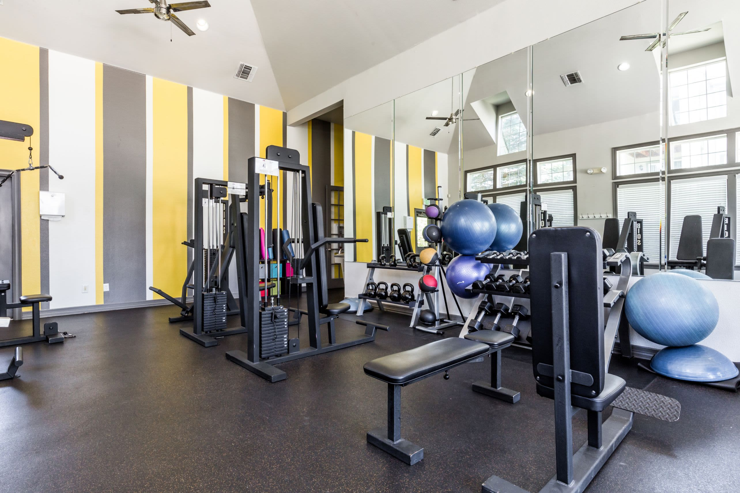 Fully equipped fitness center at Marquis at Town Centre in Broomfield, Colorado