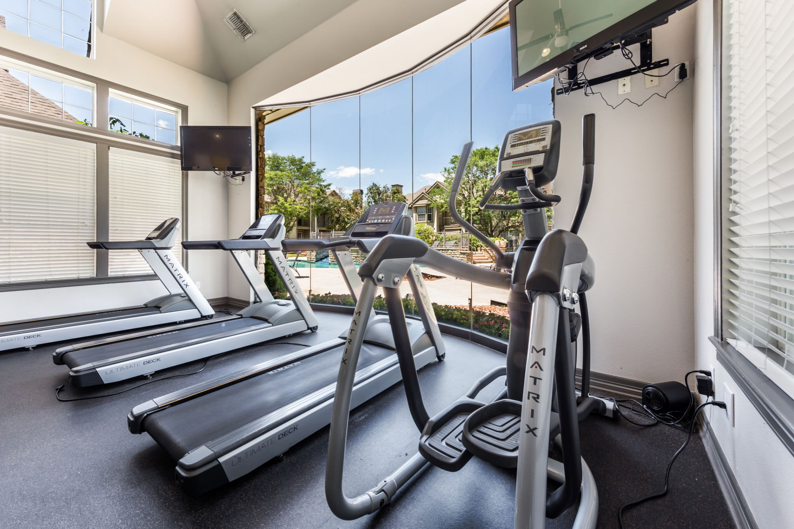 Treadmills in fitness center at Marquis at Town Centre in Broomfield, Colorado