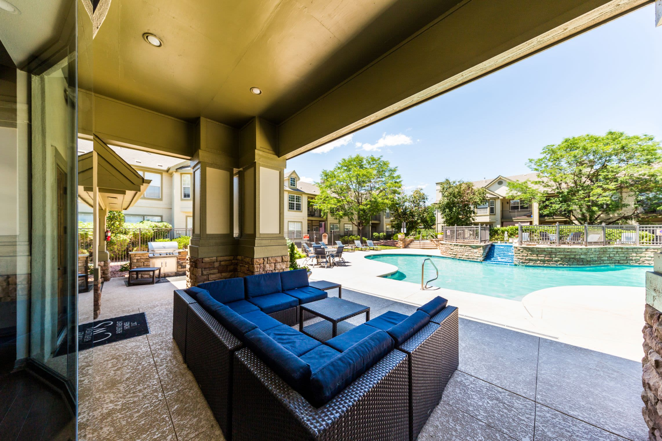 Covered patio furniture at Marquis at Town Centre in Broomfield, Colorado
