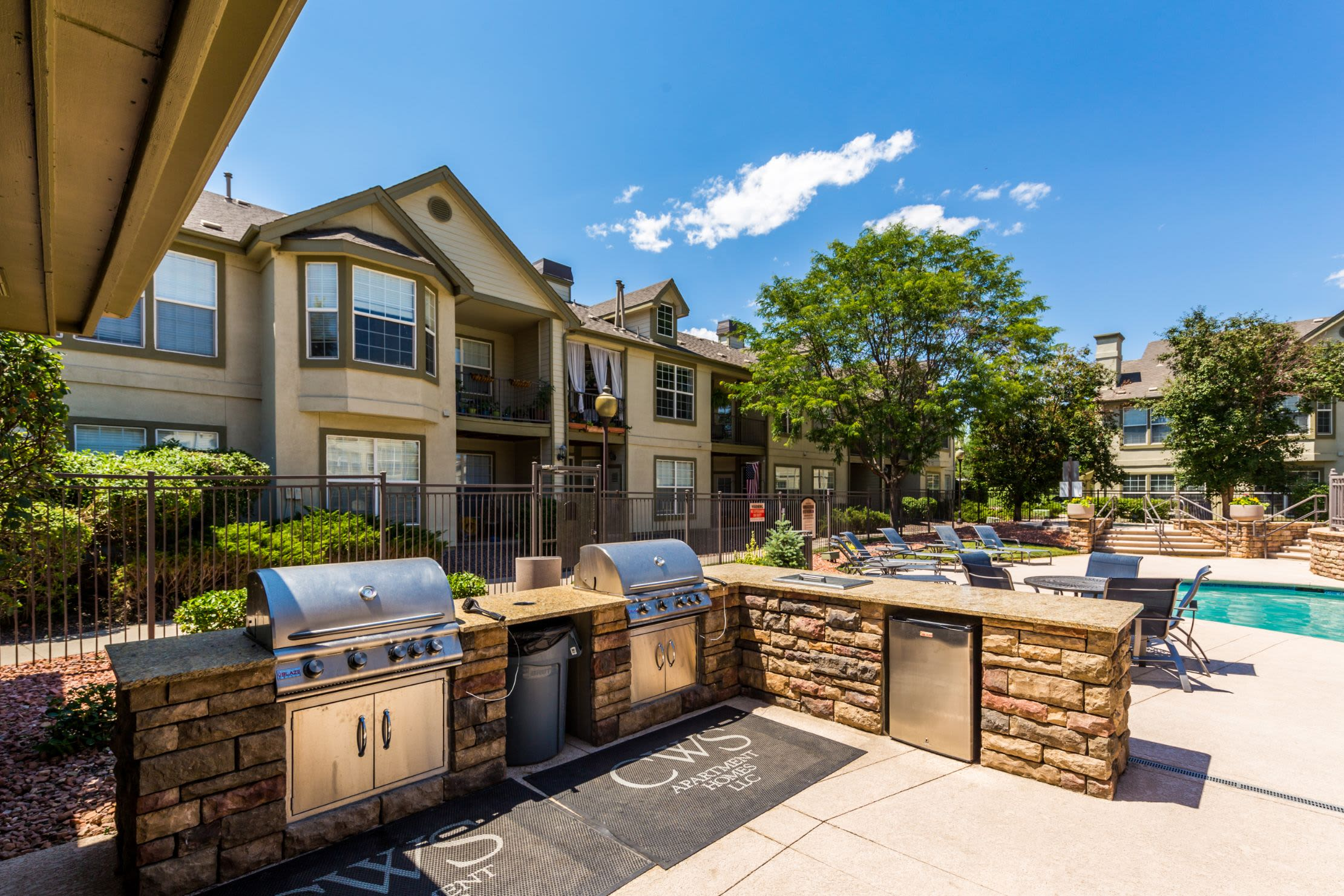 Outdoor kitchen at Marquis at Town Centre in Broomfield, Colorado
