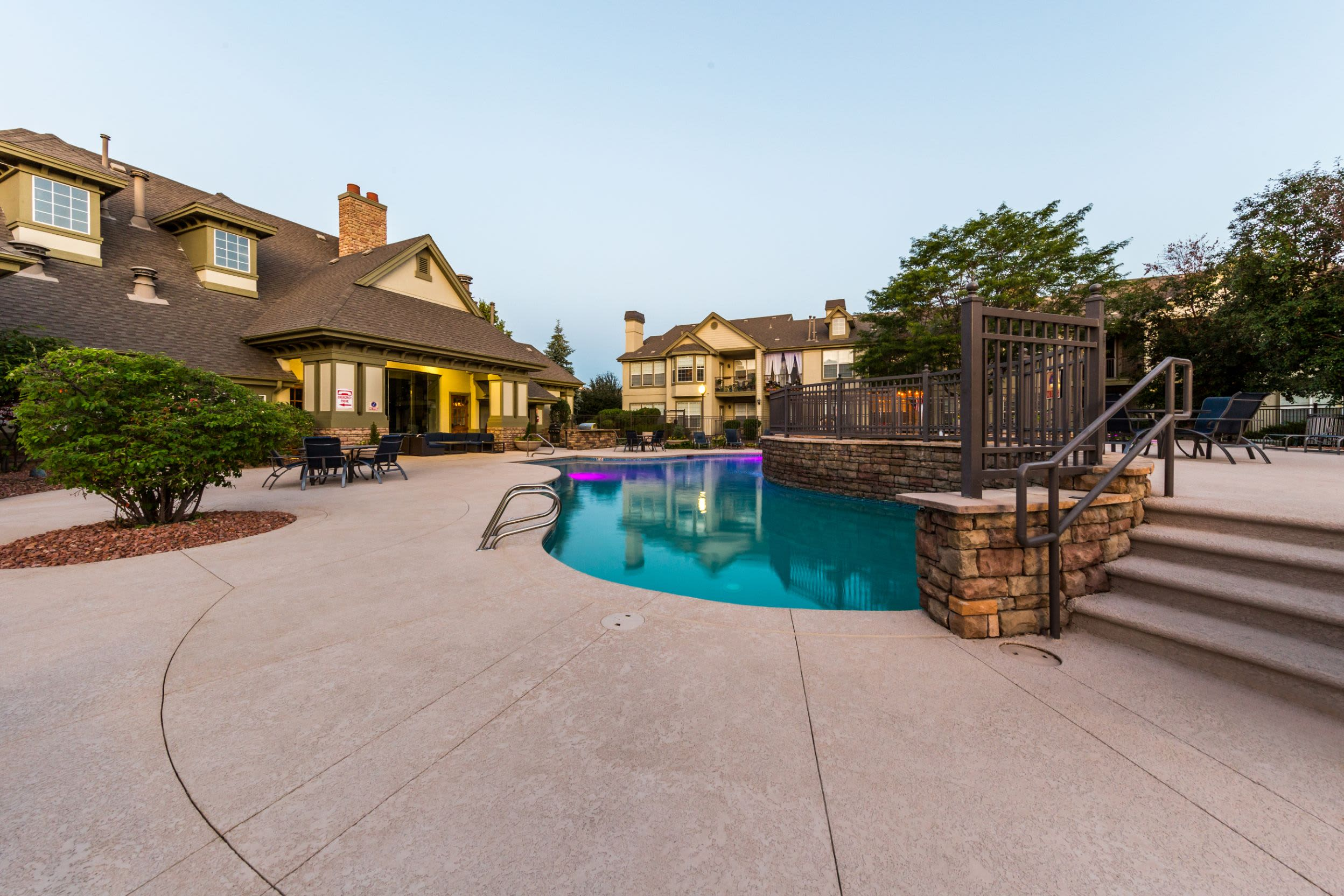 Sparkling pool at Marquis at Town Centre in Broomfield Colorado,
