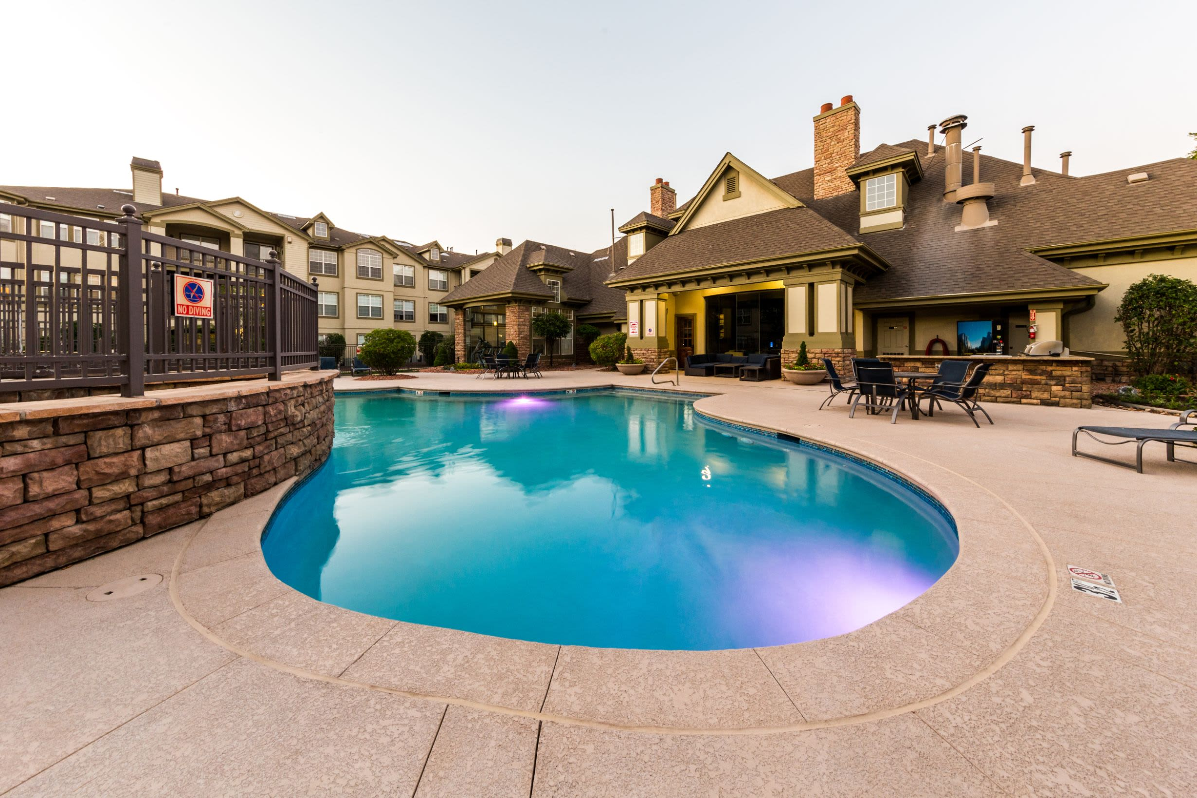 Sparkling swimming pool at Marquis at Town Centre in Broomfield, Colorado