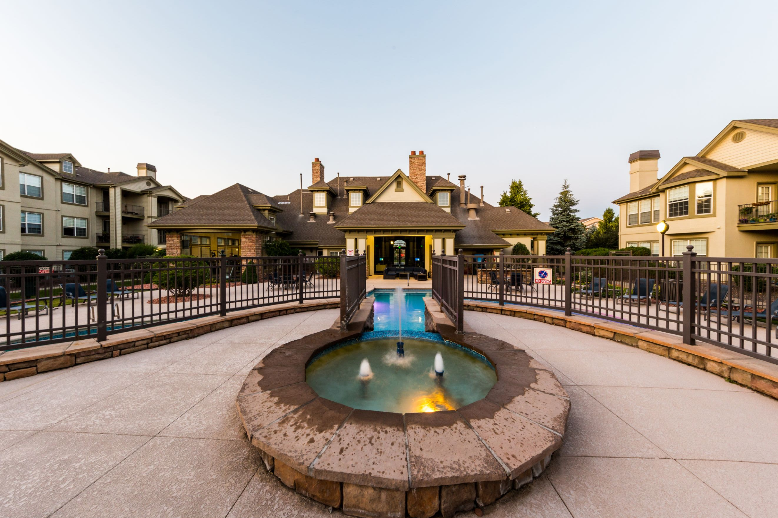 Water feature near the pool at Marquis at Town Centre in Broomfield, Colorado