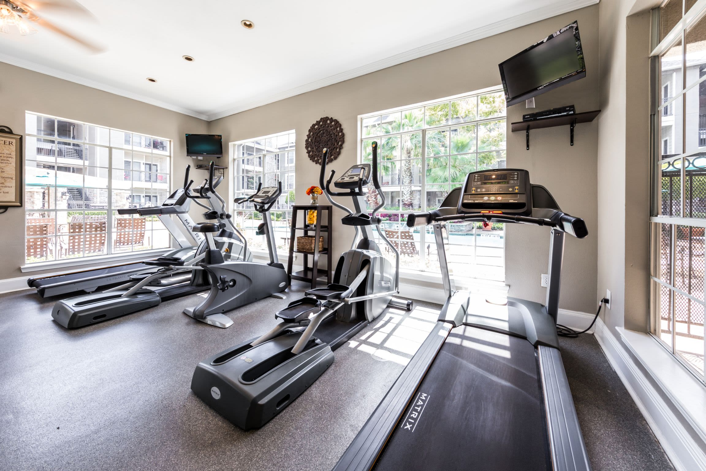 Treadmills in fitness center at Marquis on Westheimer in Houston, Texas