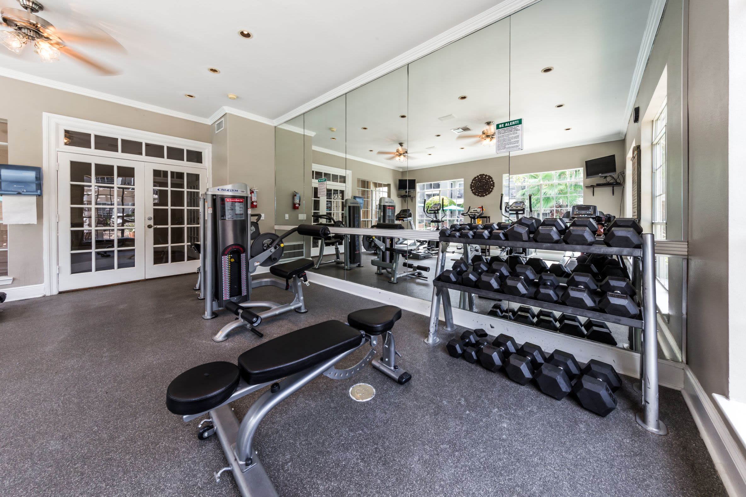 Free weights in fitness center at Marquis on Westheimer in Houston, Texas