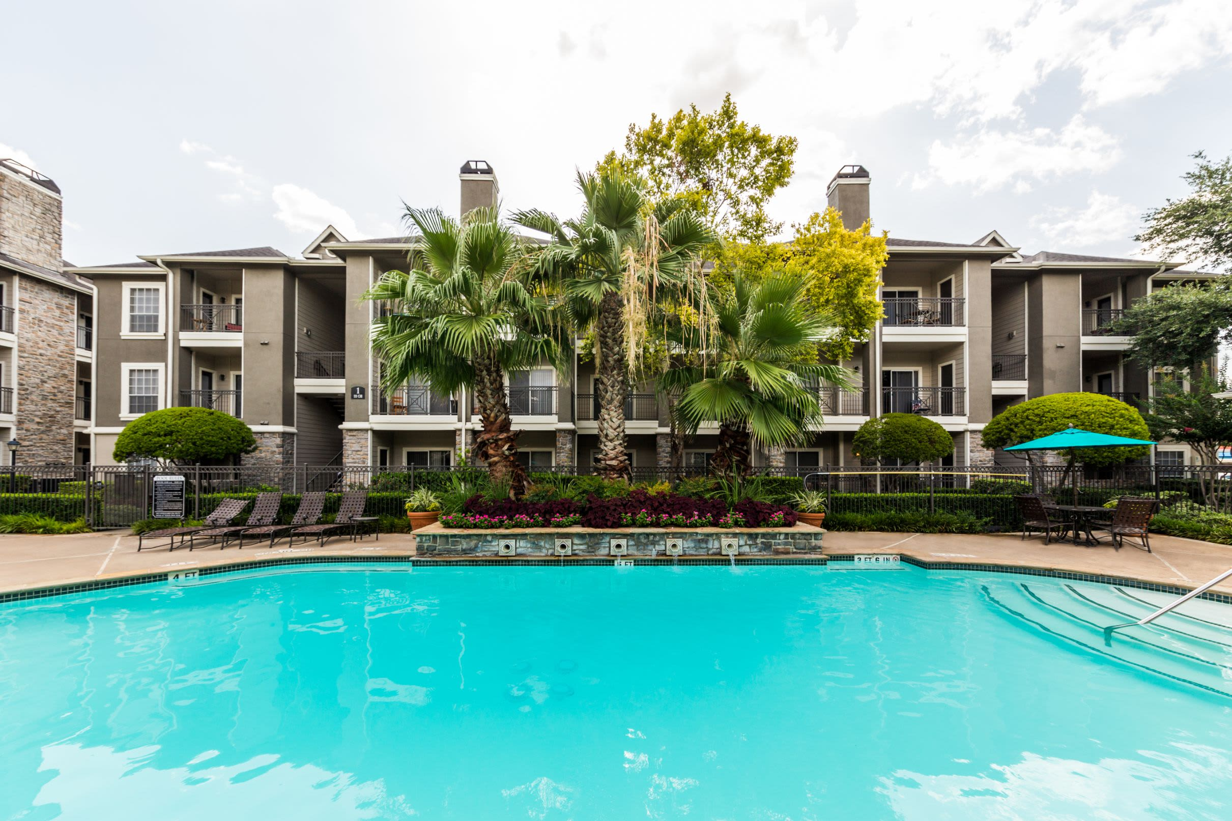 Sparkling pool with palm trees Marquis on Westheimer in Houston, Texas